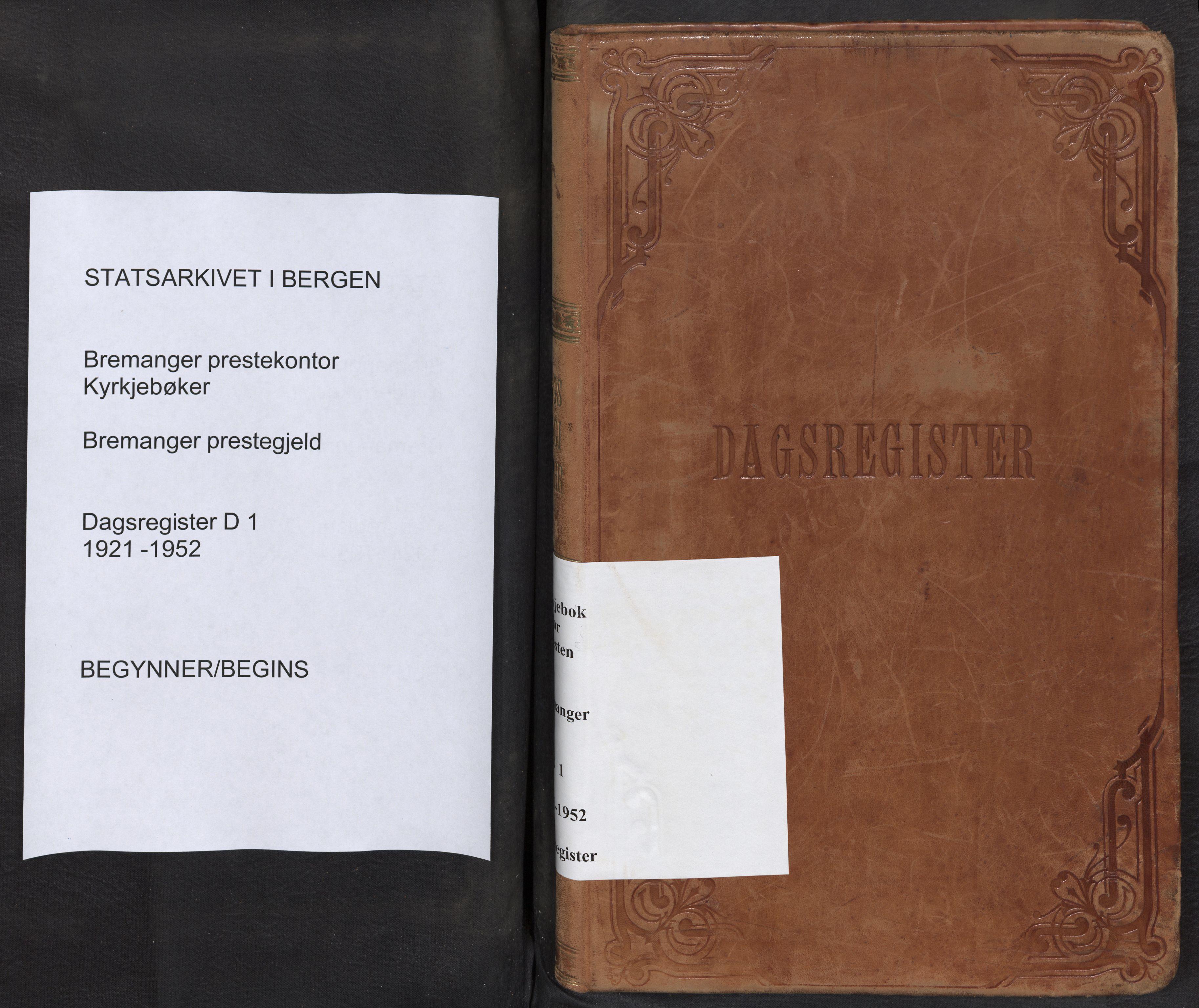 SAB, Bremanger Sokneprestembete, Dagregister nr. D 1, 1921-1952