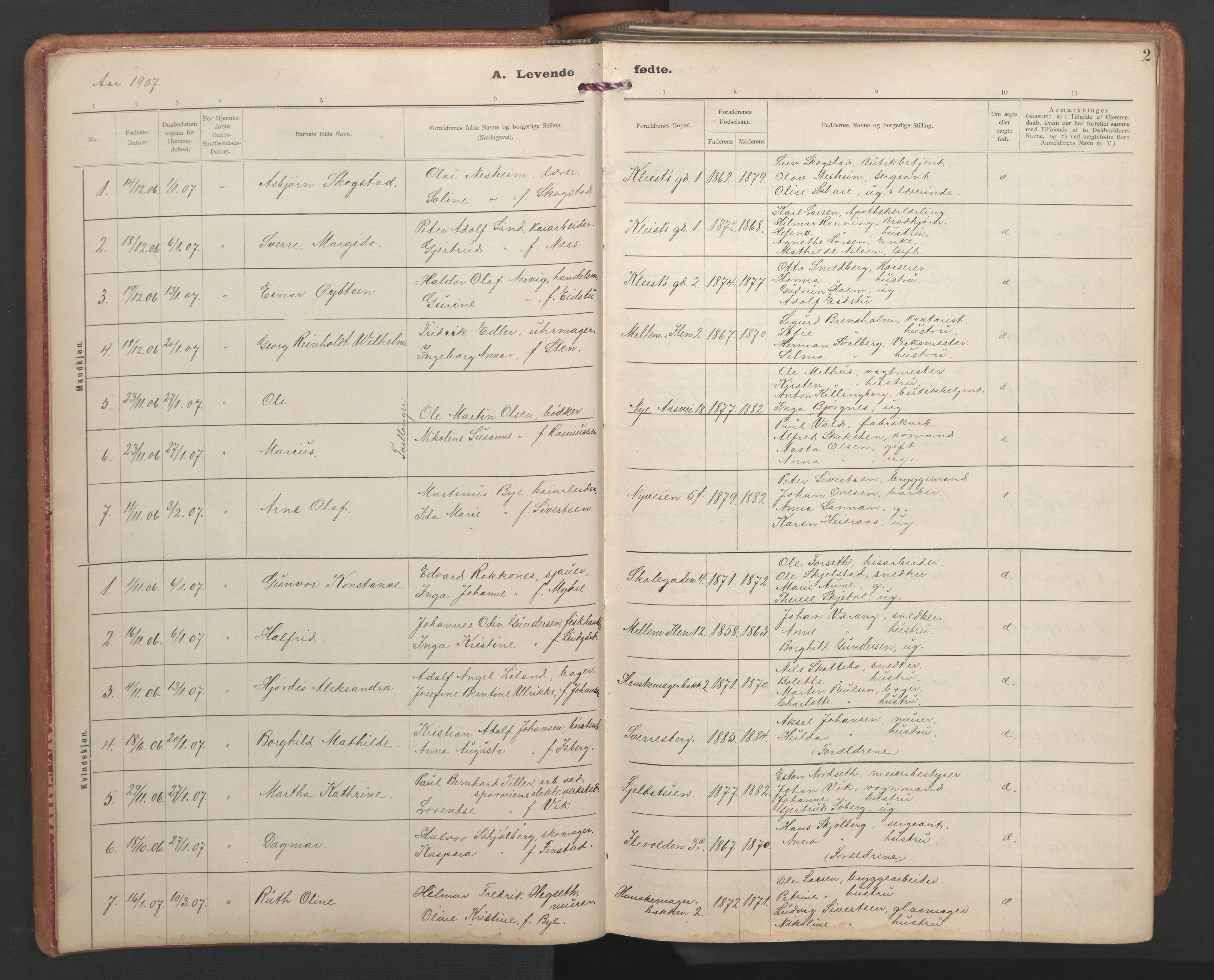 SAT, Ministerialprotokoller, klokkerbøker og fødselsregistre - Sør-Trøndelag, 603/L0173: Klokkerbok nr. 603C01, 1907-1962, s. 1