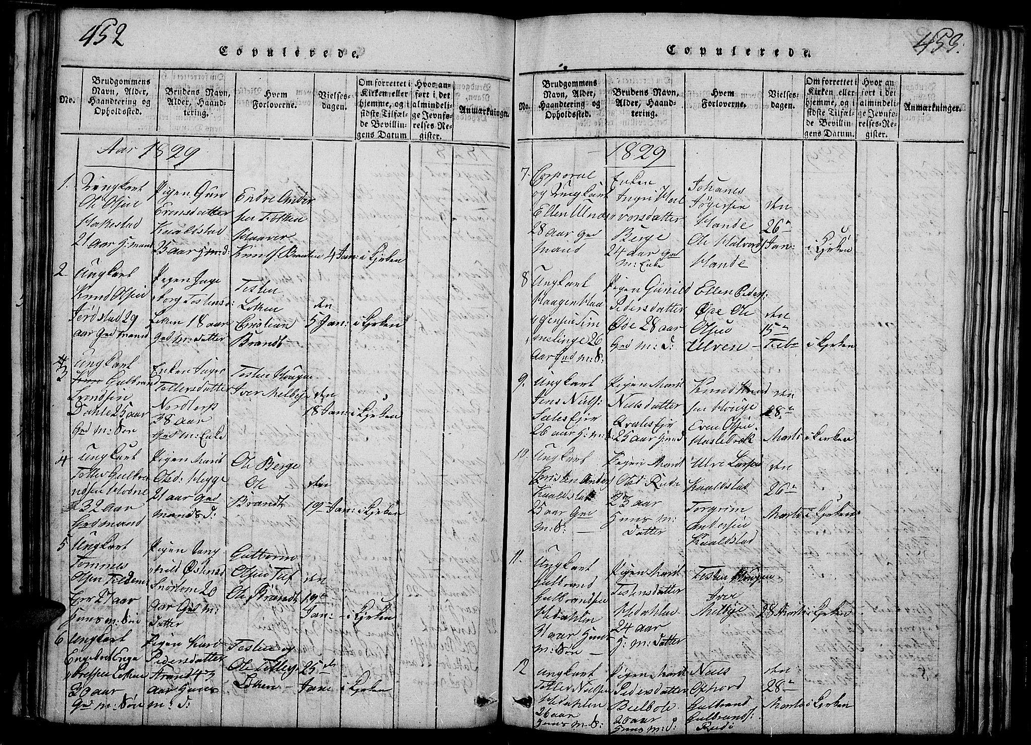 SAH, Slidre prestekontor, Ministerialbok nr. 2, 1814-1830, s. 452-453
