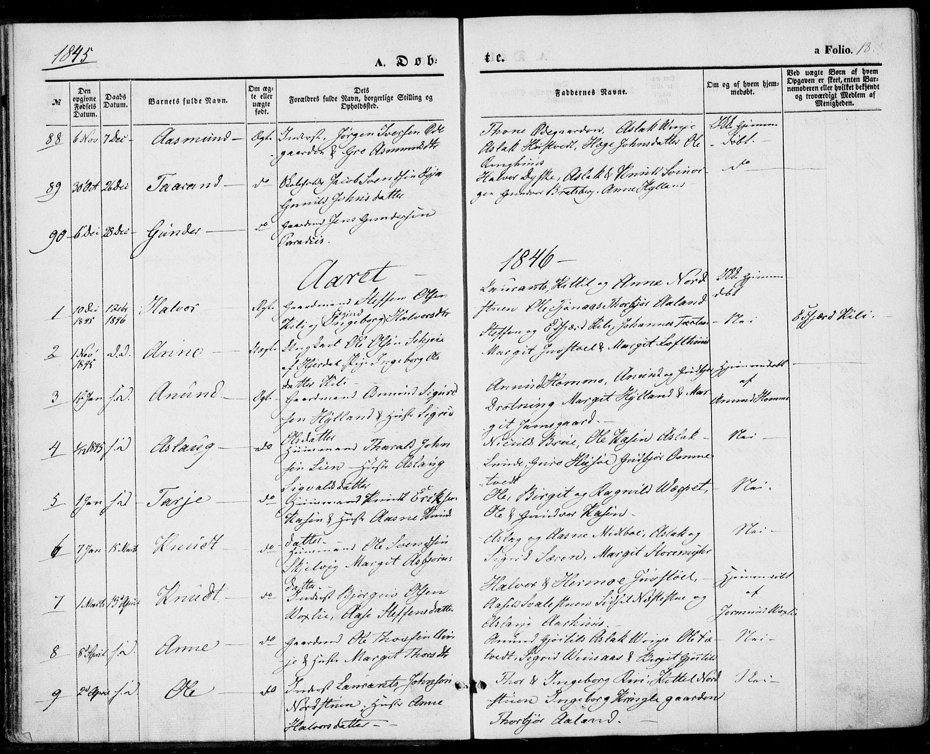 SAKO, Vinje kirkebøker, F/Fa/L0004: Ministerialbok nr. I 4, 1843-1869, s. 18