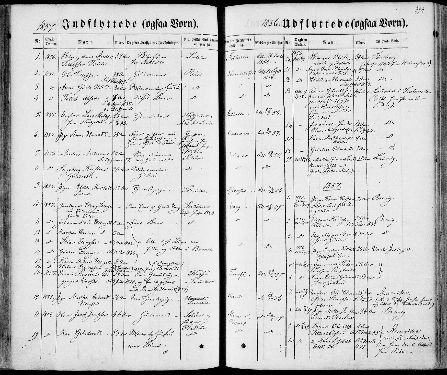 SAKO, Bamble kirkebøker, F/Fa/L0005: Ministerialbok nr. I 5, 1854-1869, s. 394