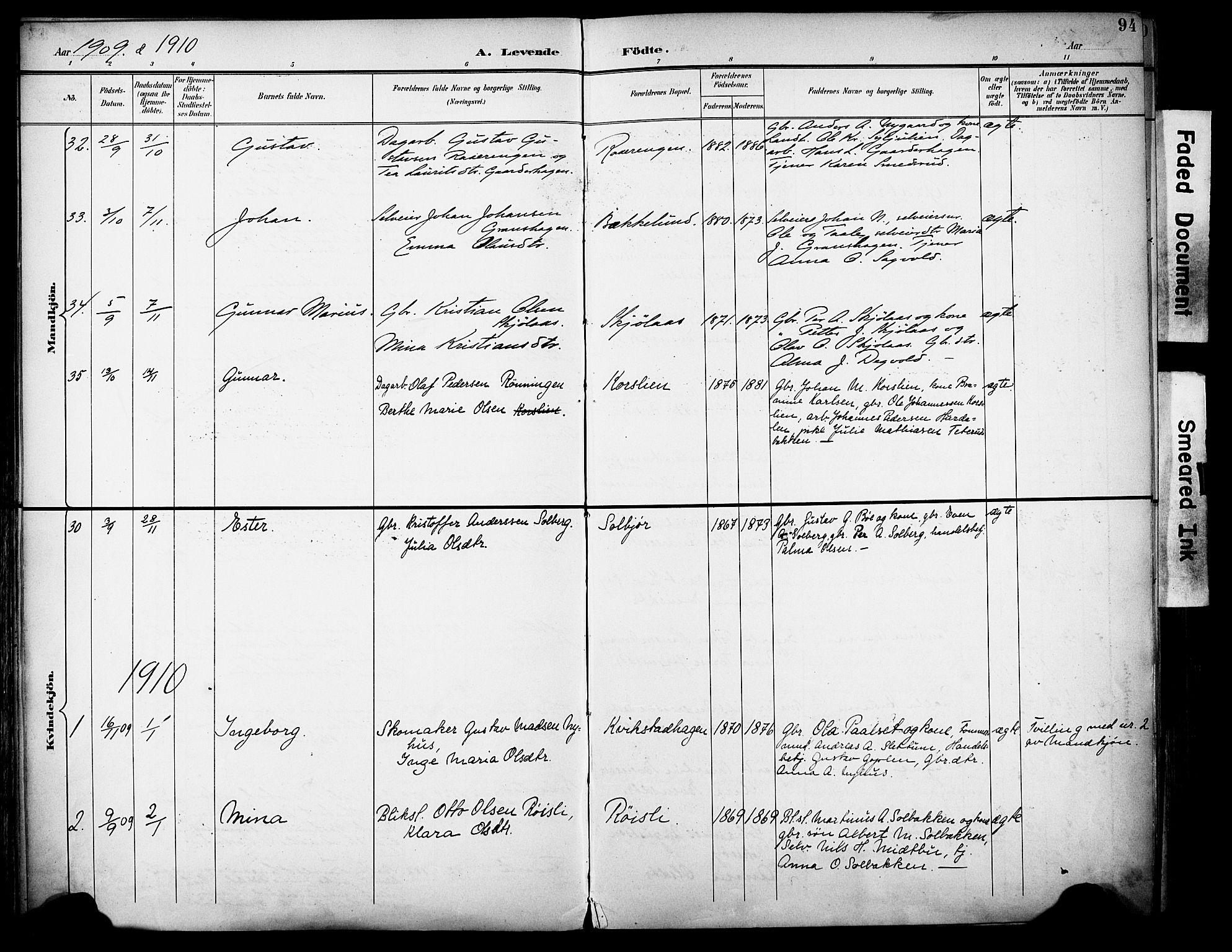 SAH, Vestre Toten prestekontor, H/Ha/Haa/L0013: Ministerialbok nr. 13, 1895-1911, s. 94