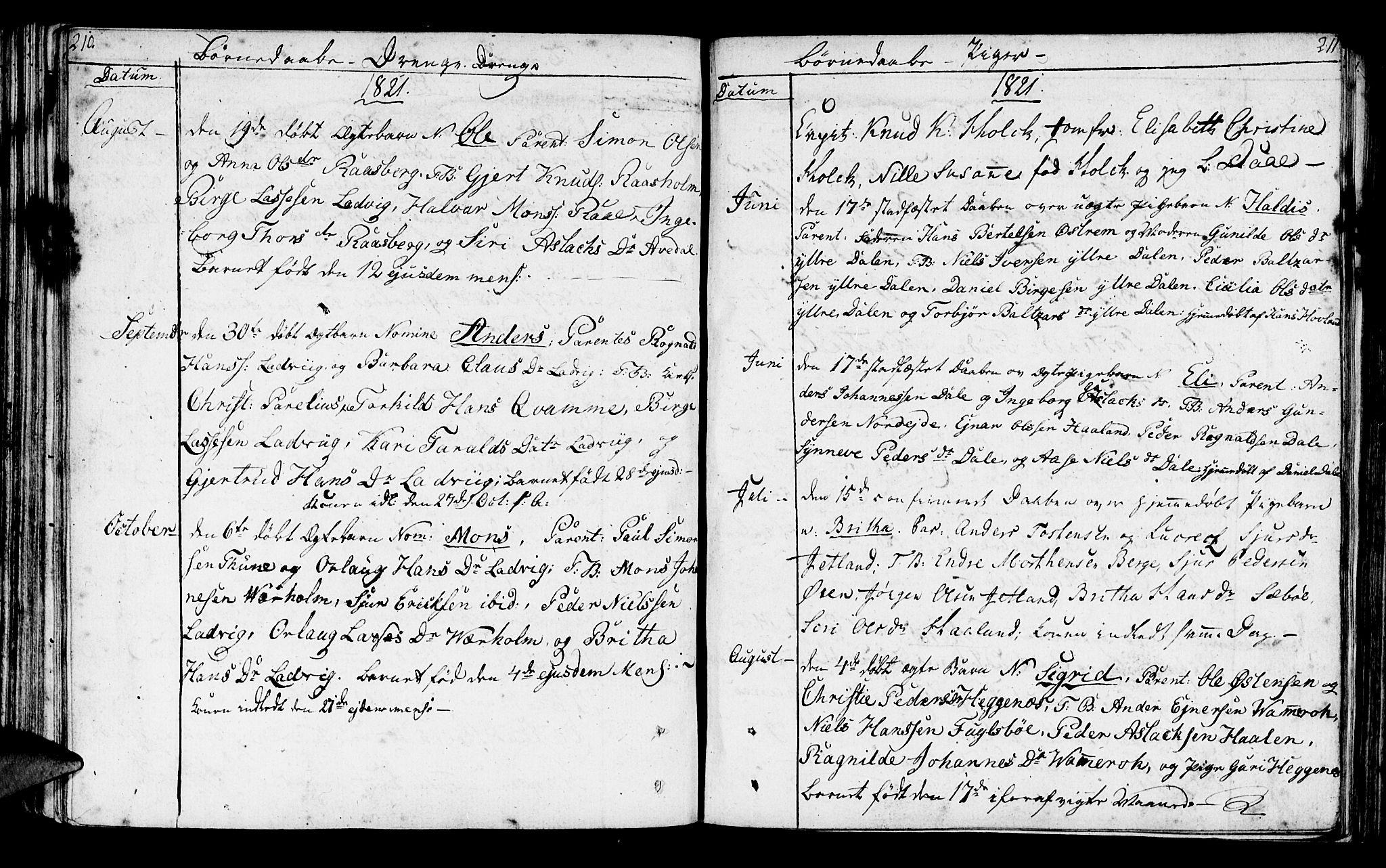 SAB, Lavik sokneprestembete, Ministerialbok nr. A 1, 1809-1822, s. 210-211