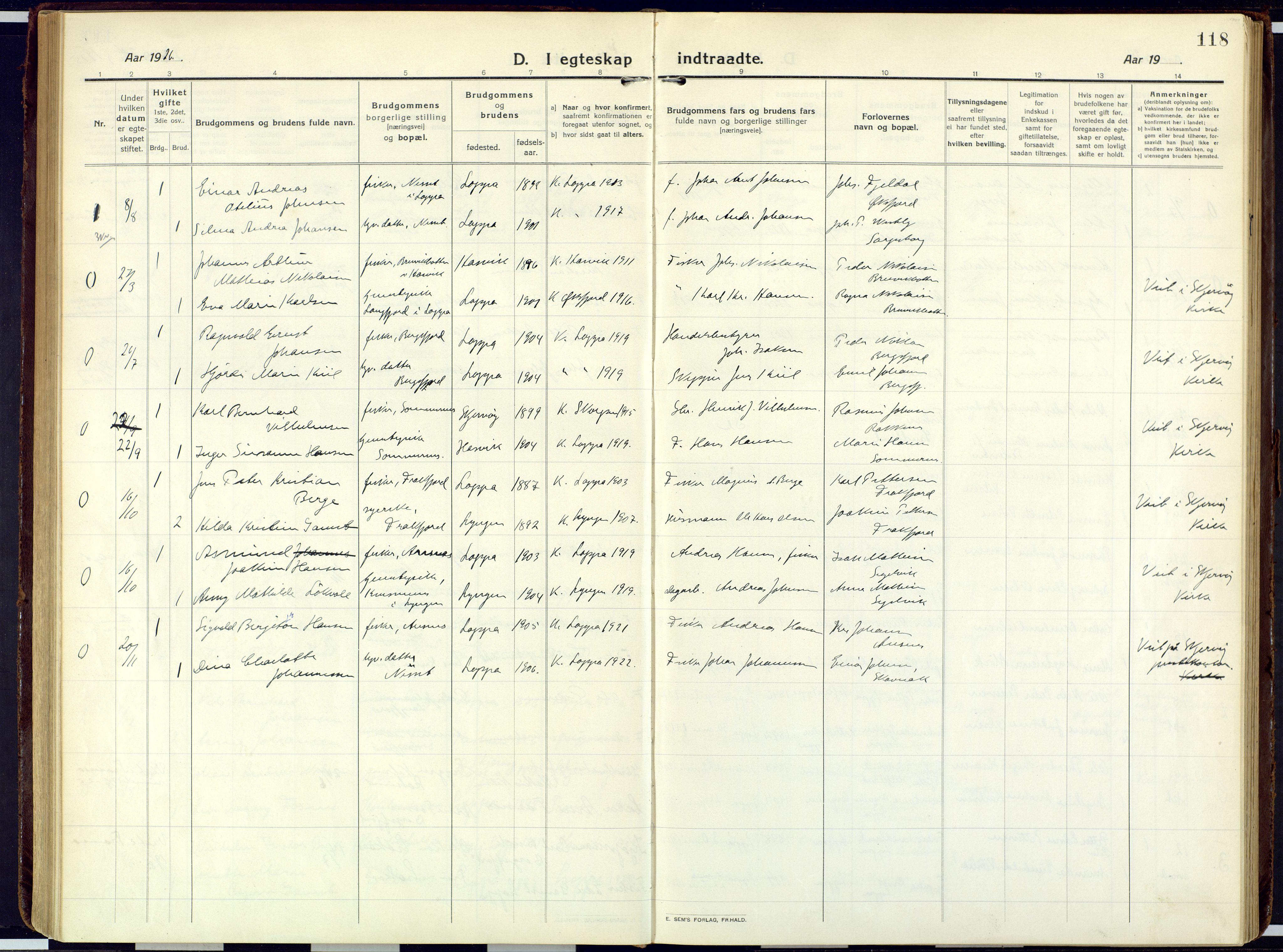 SATØ, Loppa sokneprestkontor, H/Ha/L0013kirke: Ministerialbok nr. 13, 1920-1932, s. 118