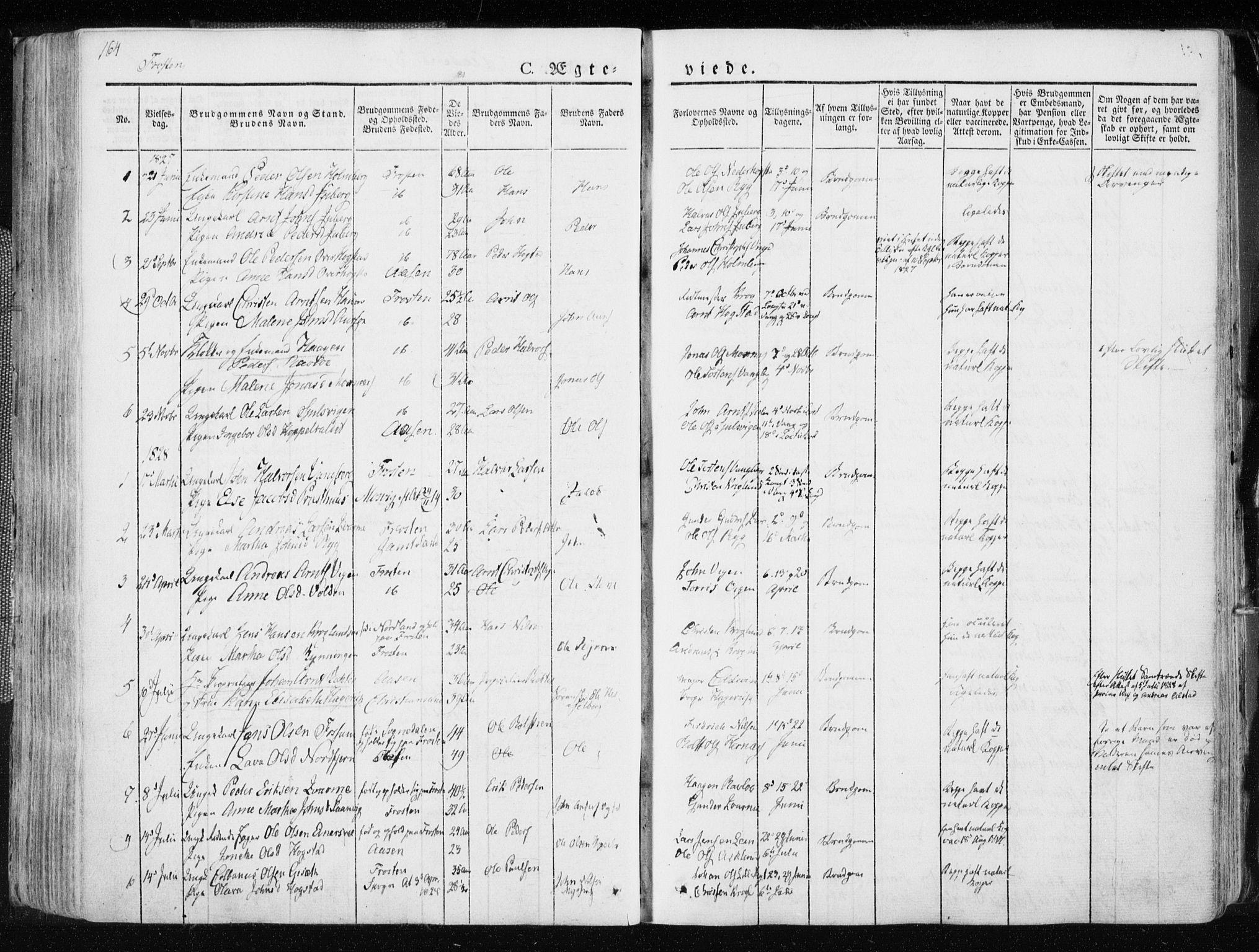 SAT, Ministerialprotokoller, klokkerbøker og fødselsregistre - Nord-Trøndelag, 713/L0114: Ministerialbok nr. 713A05, 1827-1839, s. 164