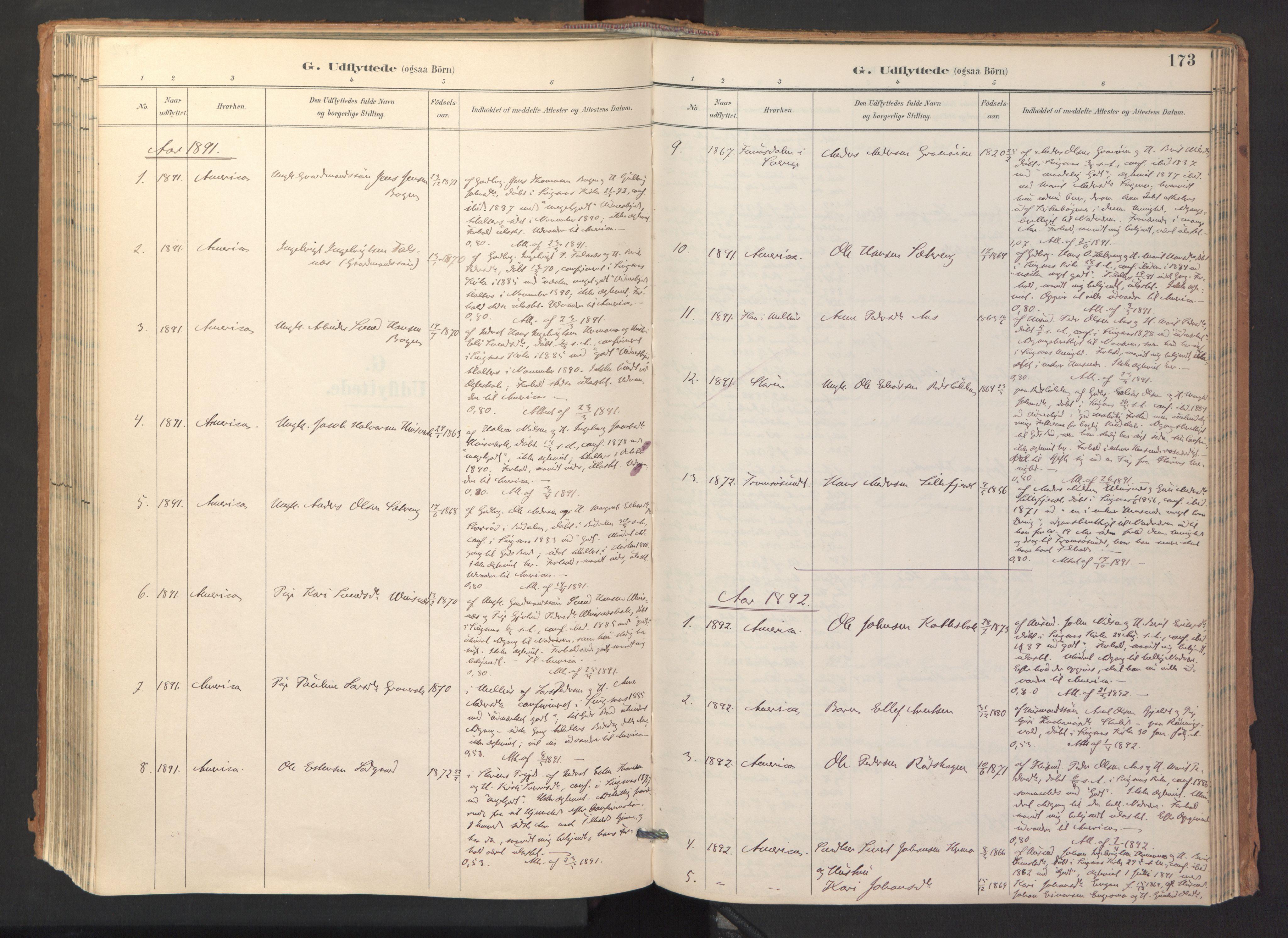 SAT, Ministerialprotokoller, klokkerbøker og fødselsregistre - Sør-Trøndelag, 688/L1025: Ministerialbok nr. 688A02, 1891-1909, s. 173