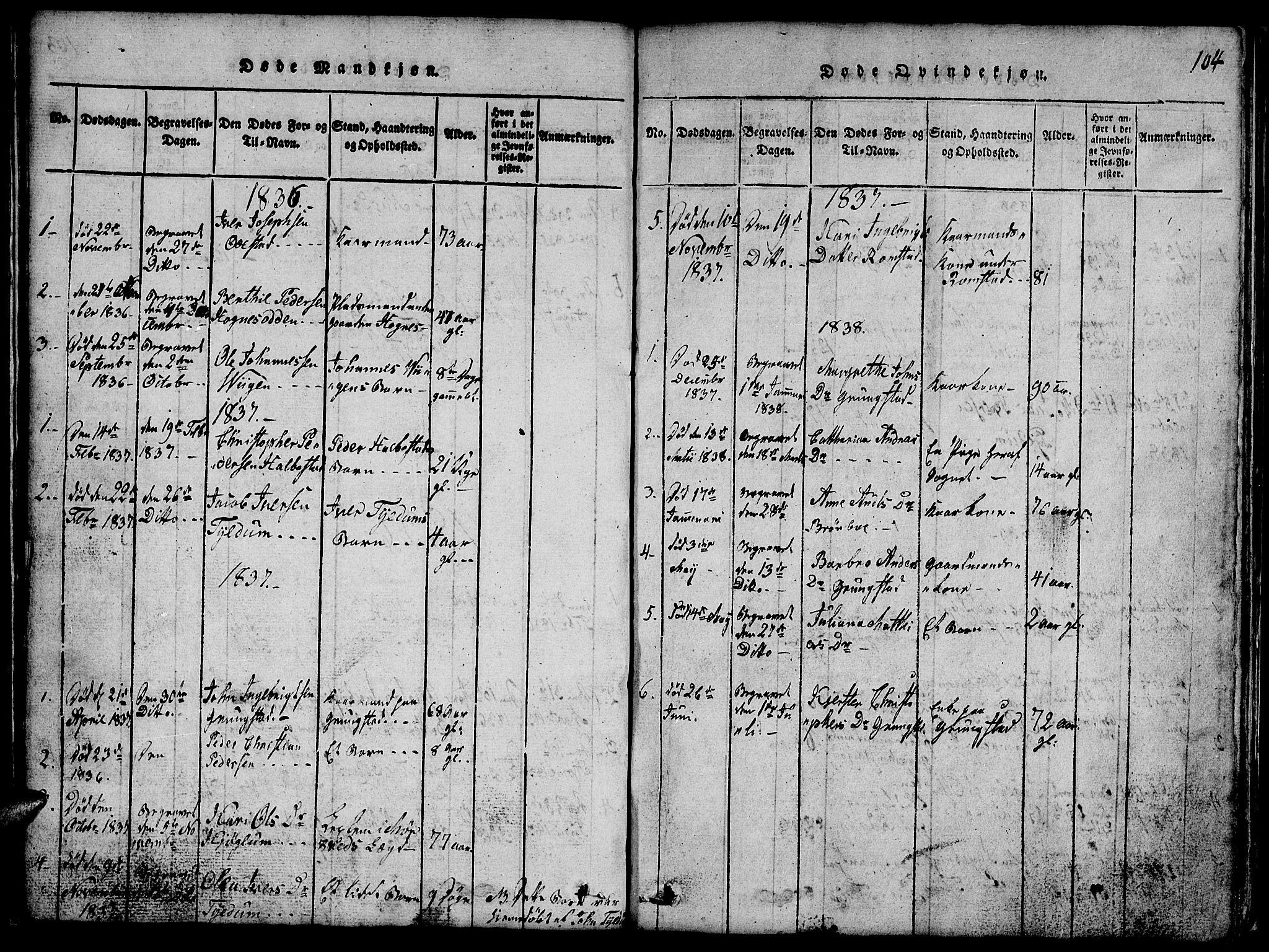 SAT, Ministerialprotokoller, klokkerbøker og fødselsregistre - Nord-Trøndelag, 765/L0562: Klokkerbok nr. 765C01, 1817-1851, s. 104