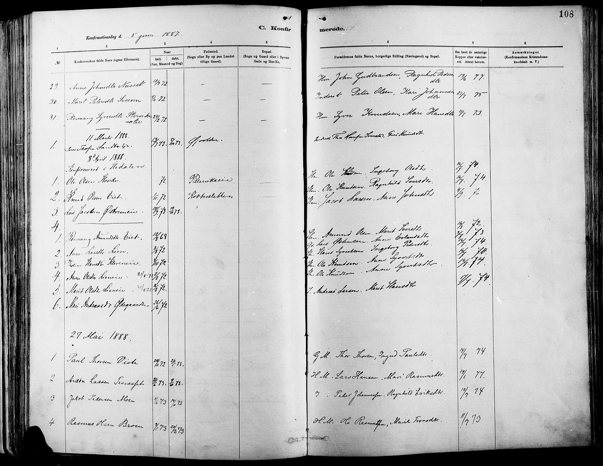 SAH, Vågå prestekontor, Ministerialbok nr. 9, 1886-1904, s. 108