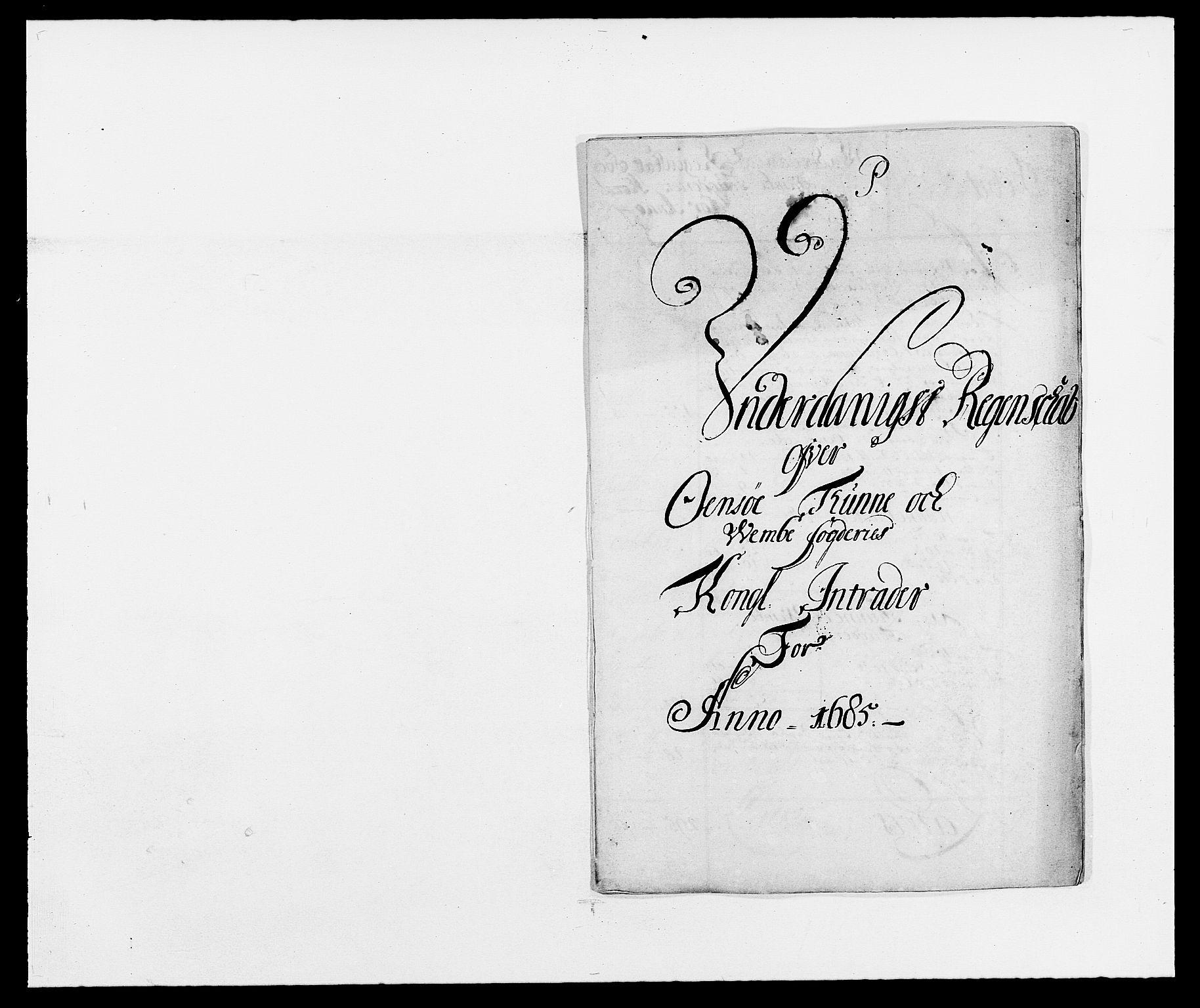 RA, Rentekammeret inntil 1814, Reviderte regnskaper, Fogderegnskap, R03/L0116: Fogderegnskap Onsøy, Tune, Veme og Åbygge fogderi, 1684-1689, s. 2