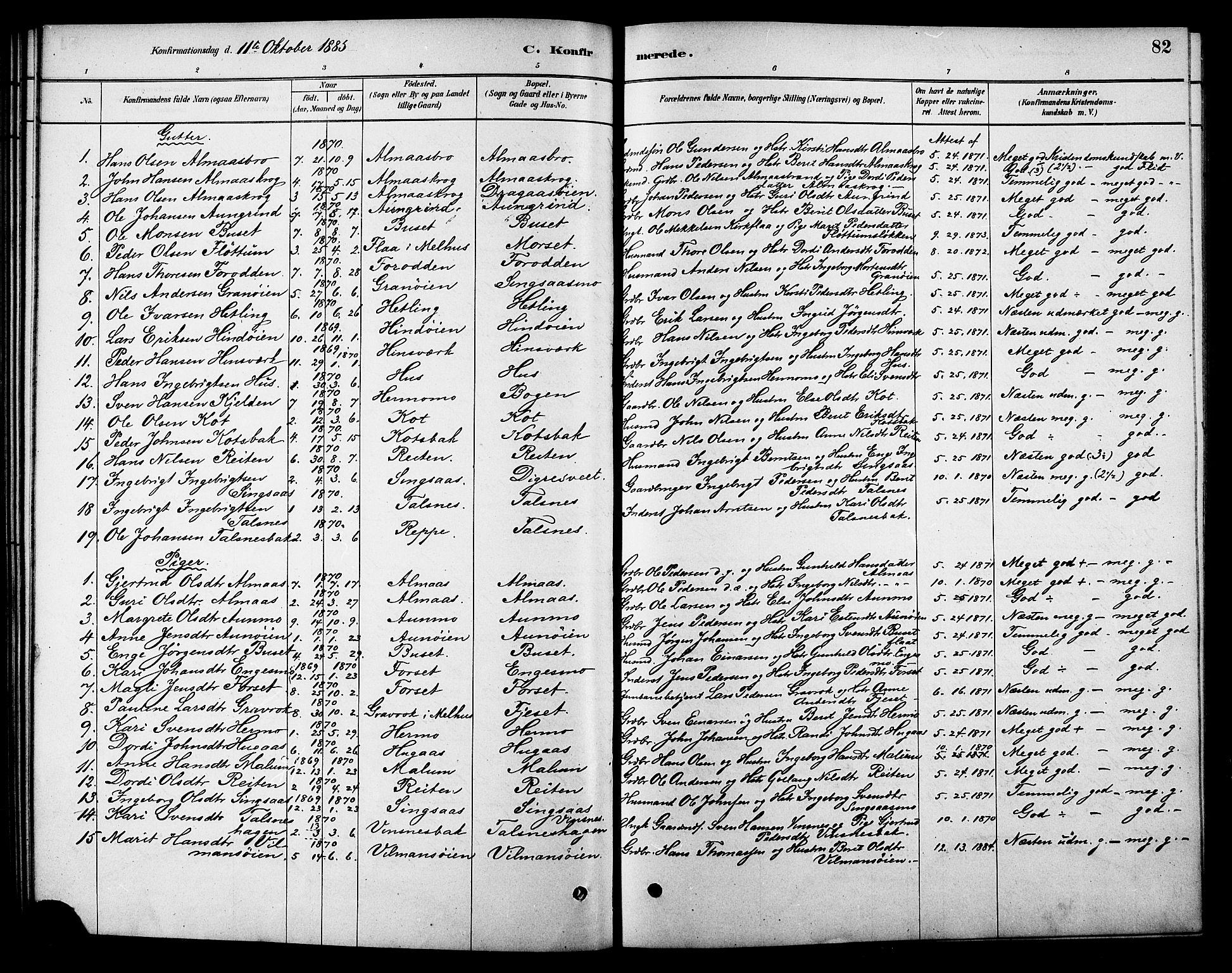 SAT, Ministerialprotokoller, klokkerbøker og fødselsregistre - Sør-Trøndelag, 688/L1024: Ministerialbok nr. 688A01, 1879-1890, s. 82
