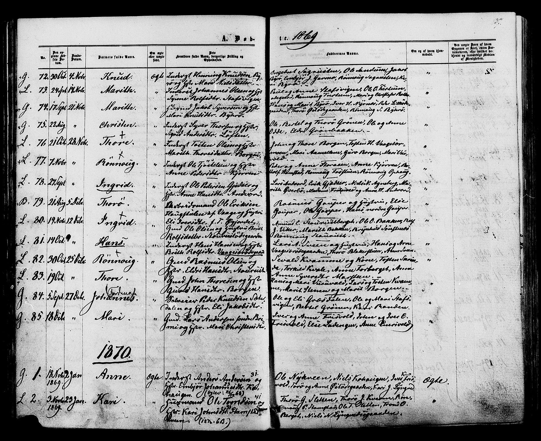 SAH, Lom prestekontor, K/L0007: Ministerialbok nr. 7, 1863-1884, s. 37