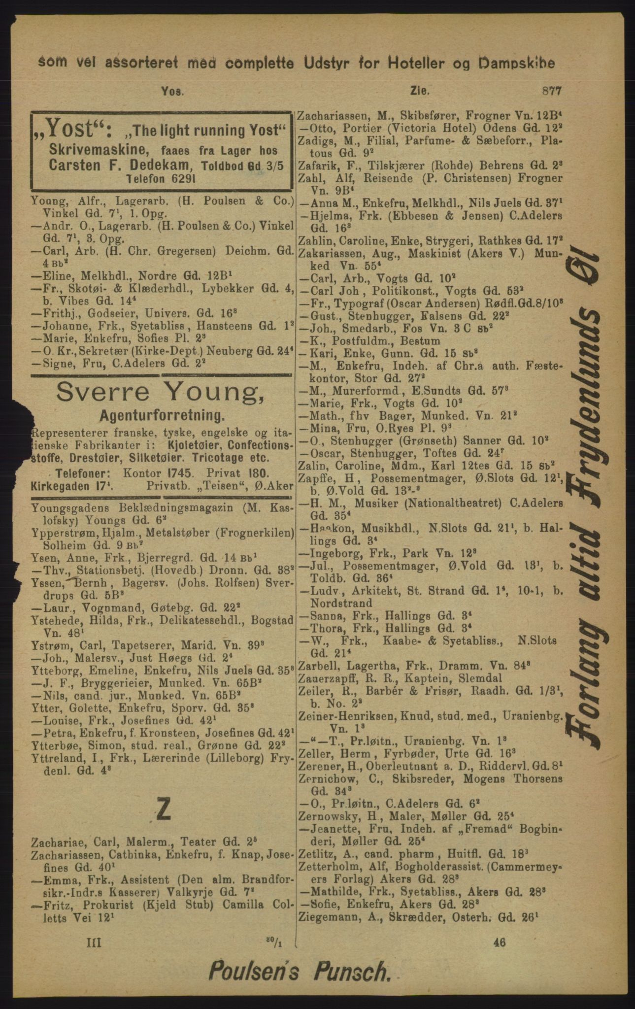 RA, Kristiania adressebok (publikasjon)*, 1905, s. 877