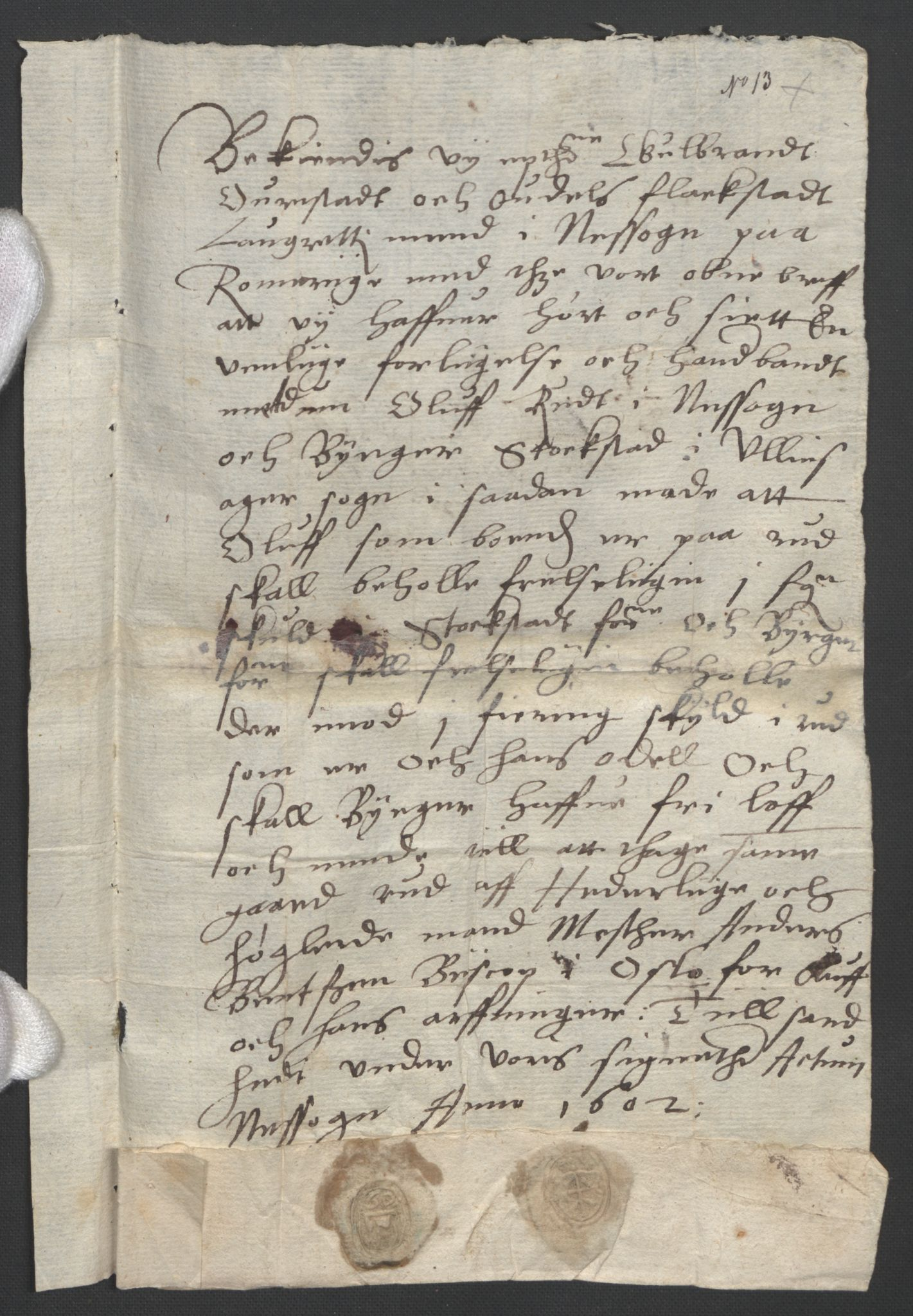 SAO, Oslo stiftsdireksjon, G/Gb/L0001: Bispestolens dokumenter, 1584-1612, s. 13