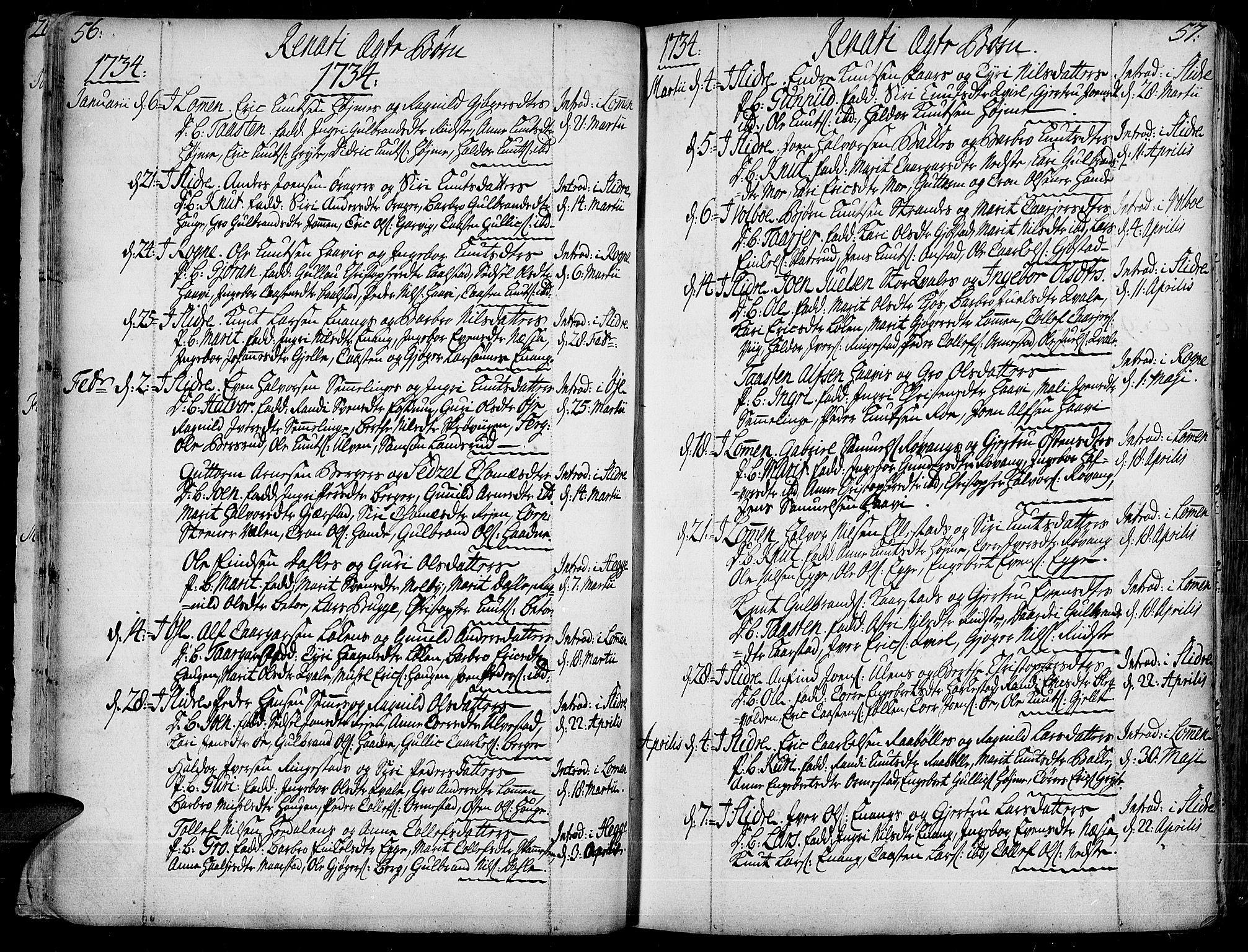 SAH, Slidre prestekontor, Ministerialbok nr. 1, 1724-1814, s. 56-57