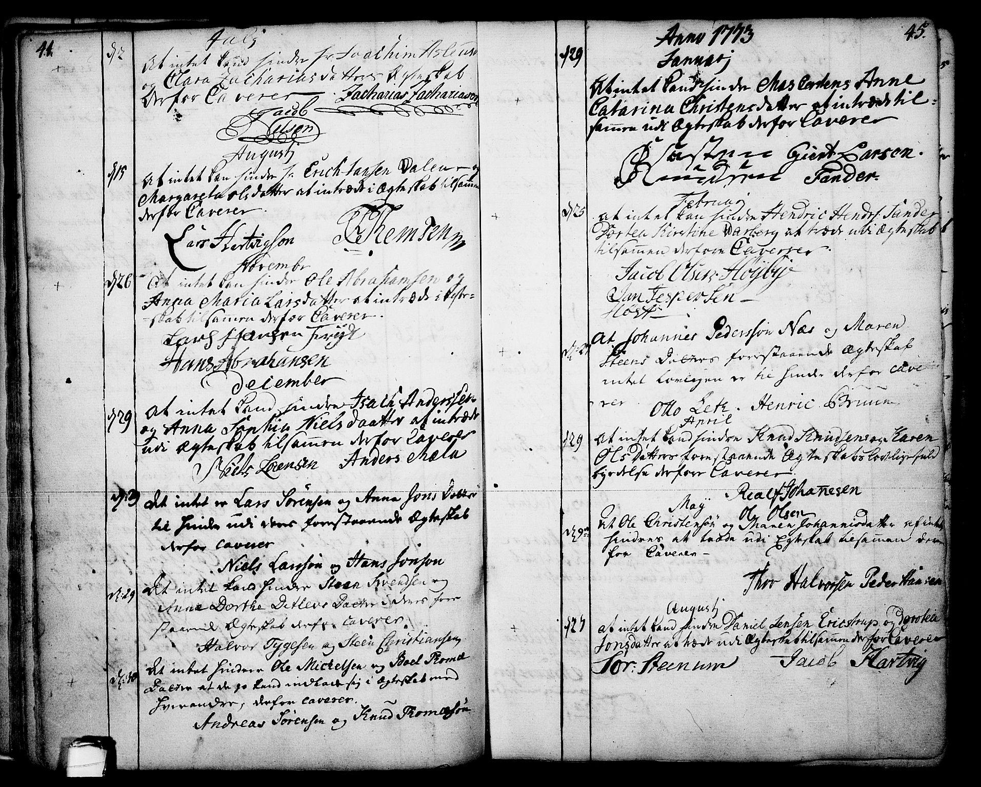 SAKO, Skien kirkebøker, F/Fa/L0003: Ministerialbok nr. 3, 1755-1791, s. 44-45