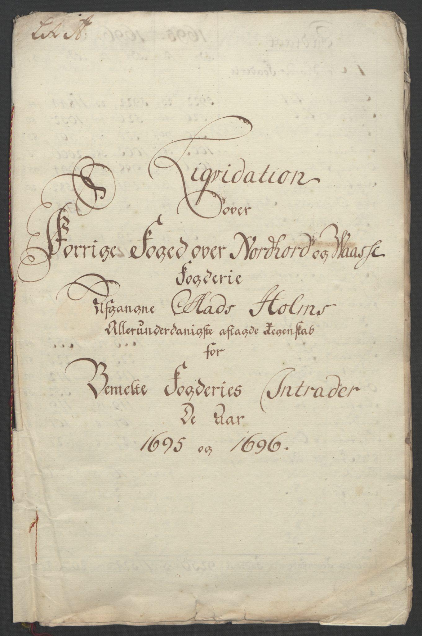 RA, Rentekammeret inntil 1814, Reviderte regnskaper, Fogderegnskap, R51/L3183: Fogderegnskap Nordhordland og Voss, 1695-1697, s. 273