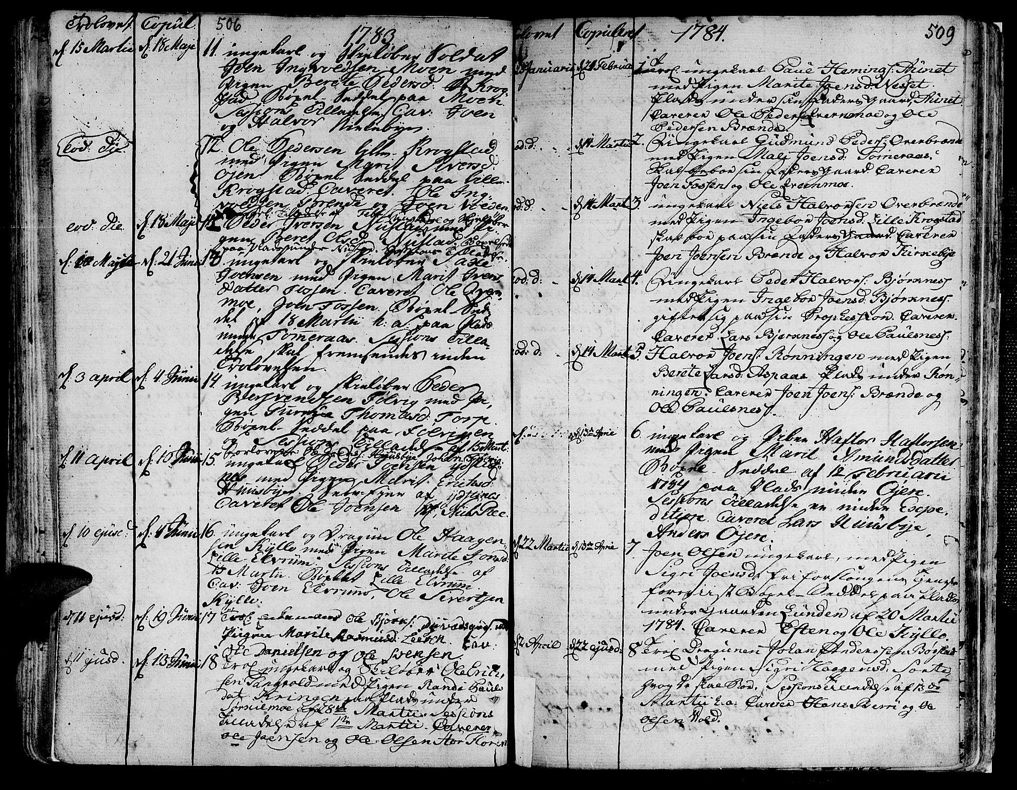 SAT, Ministerialprotokoller, klokkerbøker og fødselsregistre - Nord-Trøndelag, 709/L0059: Ministerialbok nr. 709A06, 1781-1797, s. 506-509