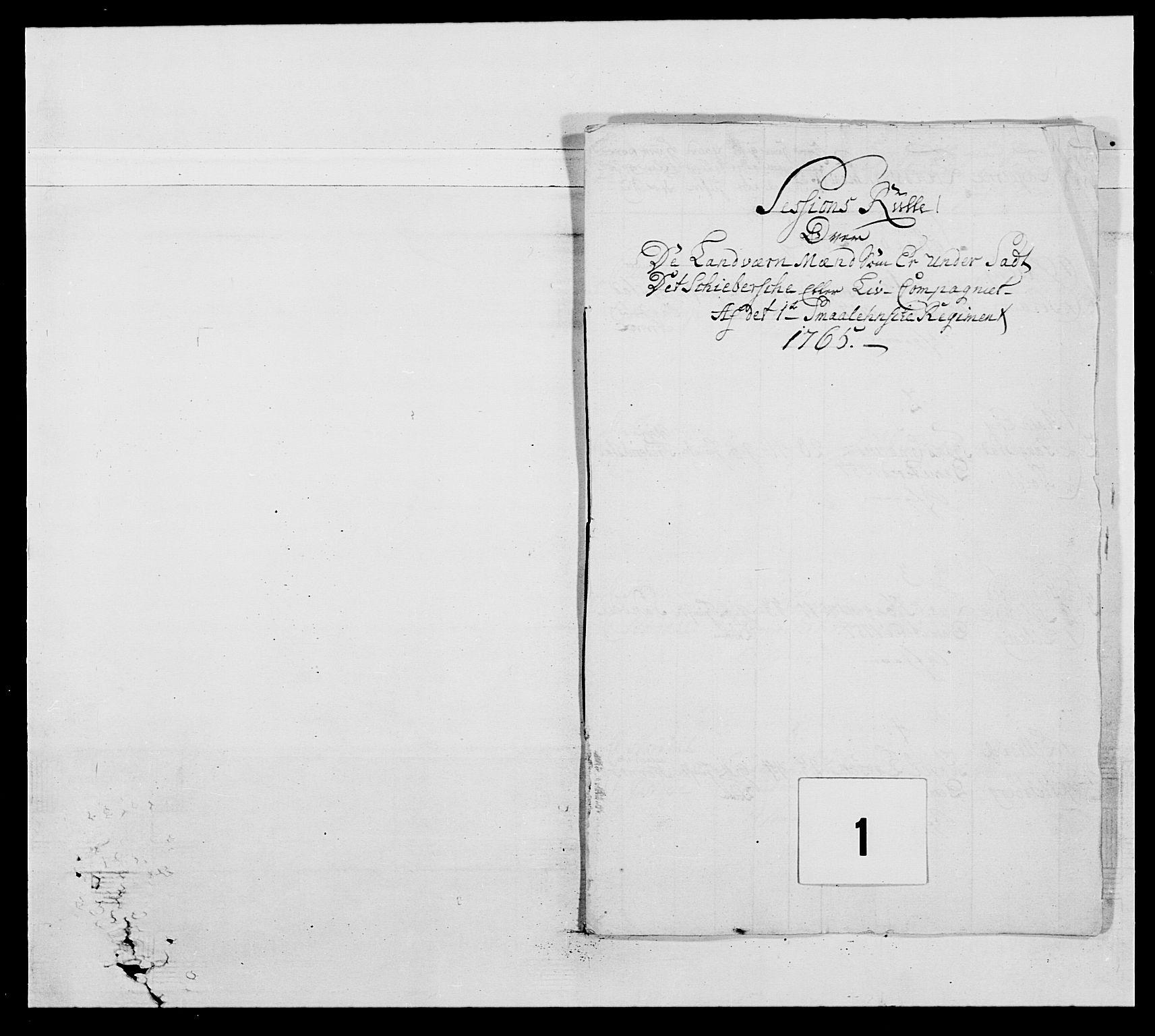 RA, Kommanderende general (KG I) med Det norske krigsdirektorium, E/Ea/L0496: 1. Smålenske regiment, 1765-1767, s. 8