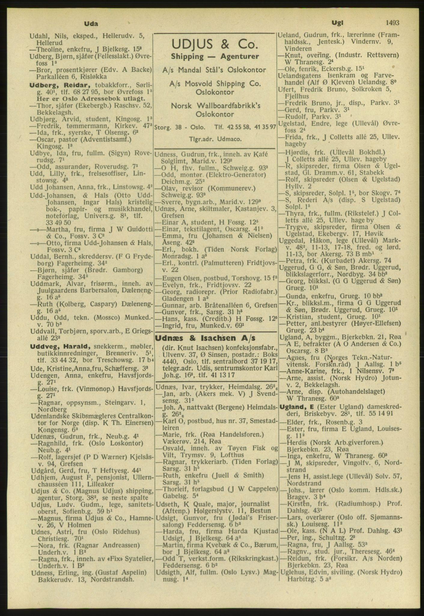 PUBL, Kristiania/Oslo adressebok, 1952, s. 1493