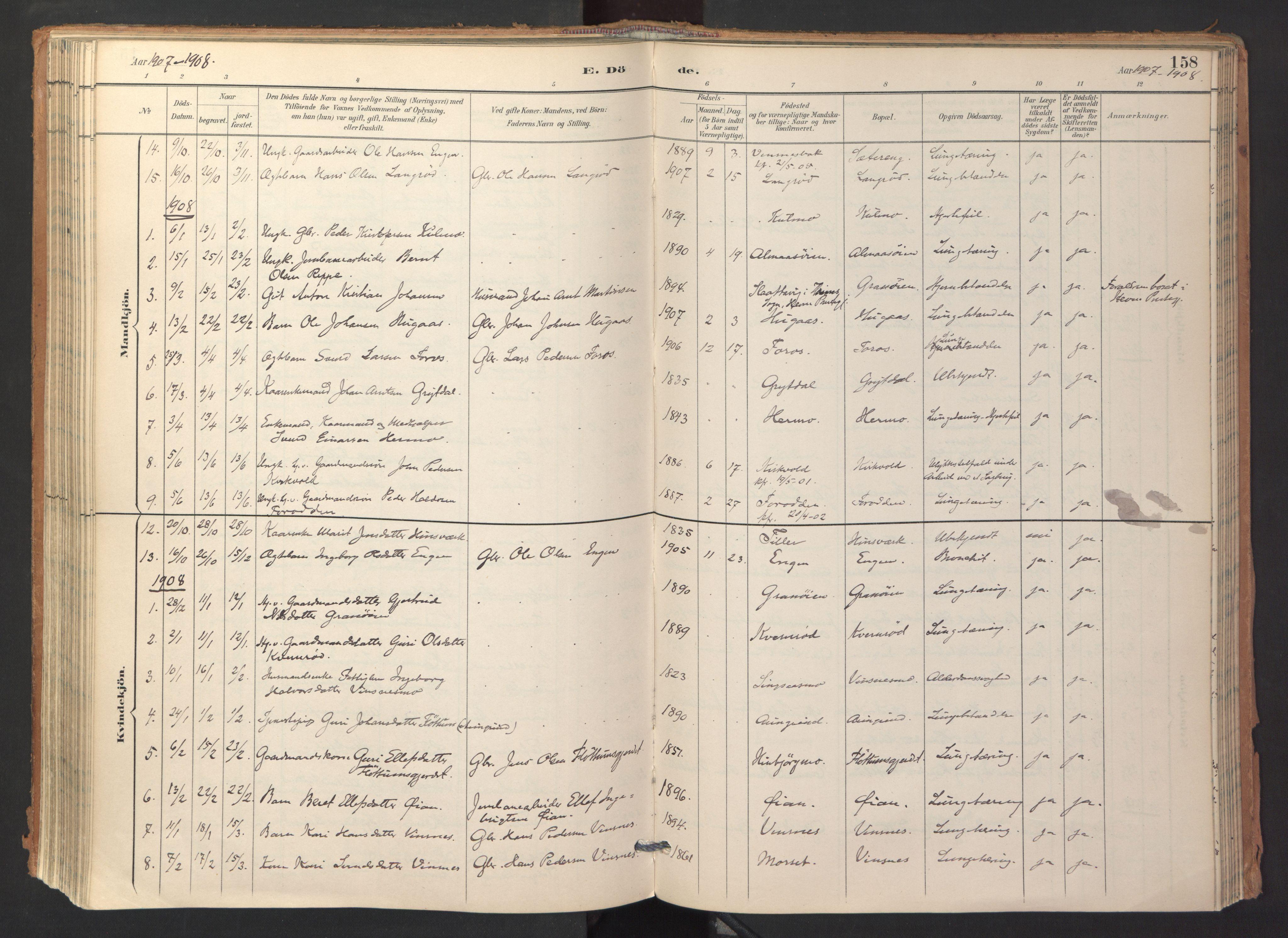 SAT, Ministerialprotokoller, klokkerbøker og fødselsregistre - Sør-Trøndelag, 688/L1025: Ministerialbok nr. 688A02, 1891-1909, s. 158