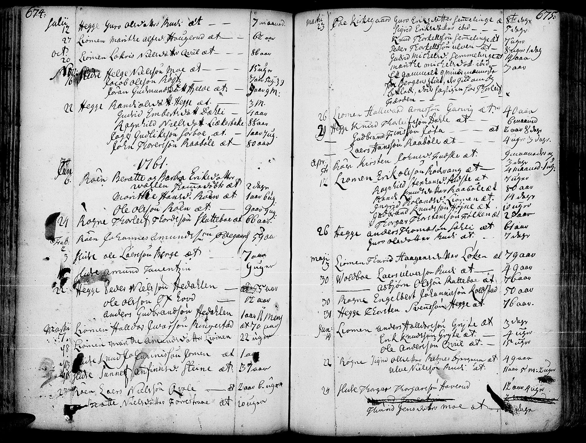SAH, Slidre prestekontor, Ministerialbok nr. 1, 1724-1814, s. 674-675
