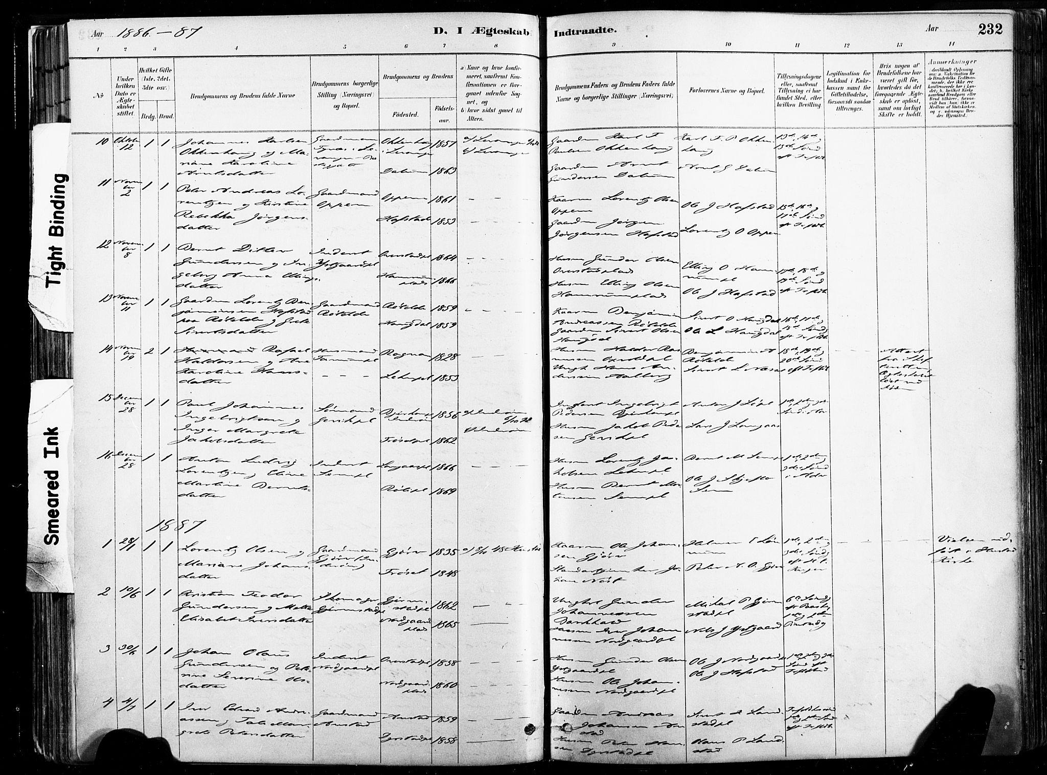 SAT, Ministerialprotokoller, klokkerbøker og fødselsregistre - Nord-Trøndelag, 735/L0351: Ministerialbok nr. 735A10, 1884-1908, s. 232