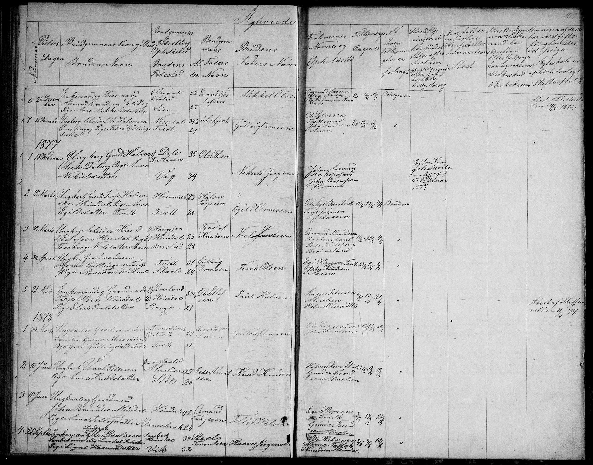 SAKO, Nissedal kirkebøker, G/Gb/L0002: Klokkerbok nr. II 2, 1863-1892, s. 107