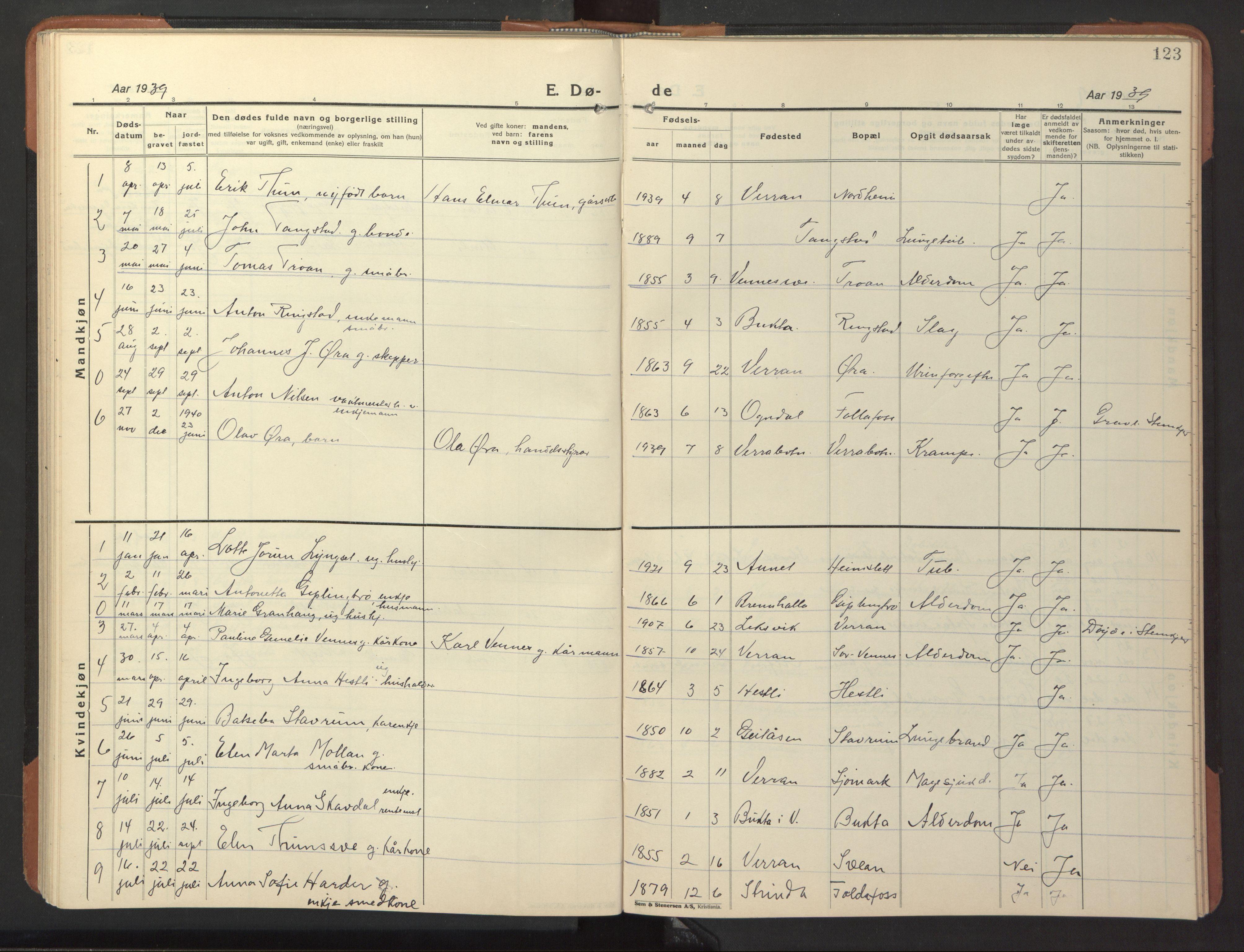 SAT, Ministerialprotokoller, klokkerbøker og fødselsregistre - Nord-Trøndelag, 744/L0425: Klokkerbok nr. 744C04, 1924-1947, s. 123