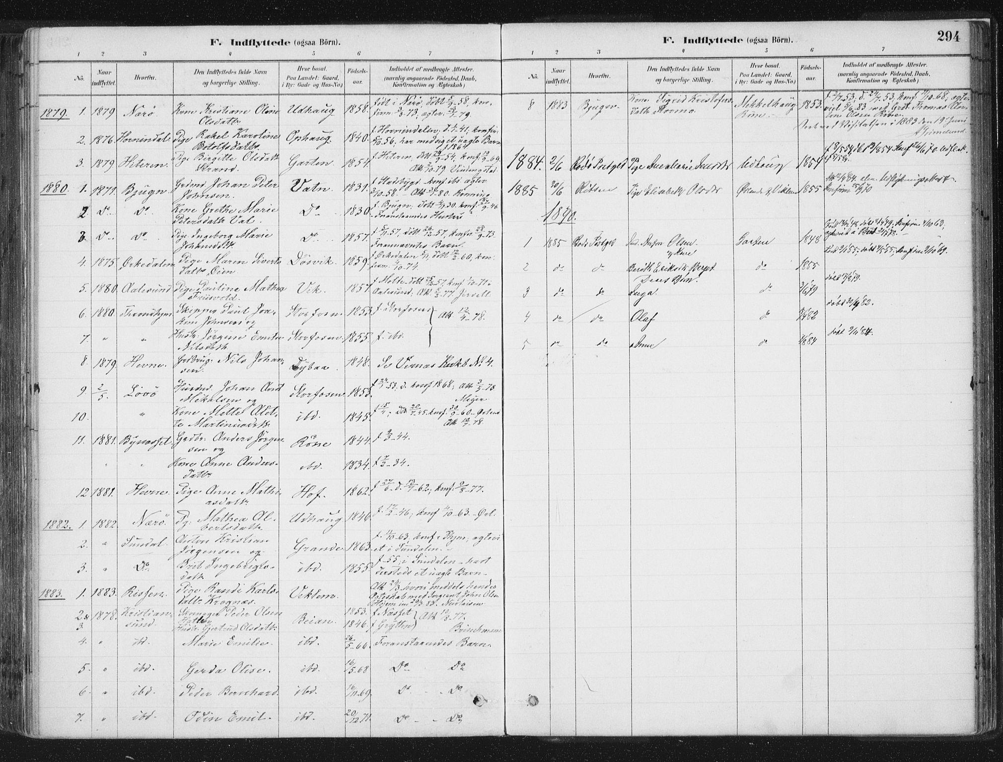SAT, Ministerialprotokoller, klokkerbøker og fødselsregistre - Sør-Trøndelag, 659/L0739: Ministerialbok nr. 659A09, 1879-1893, s. 294