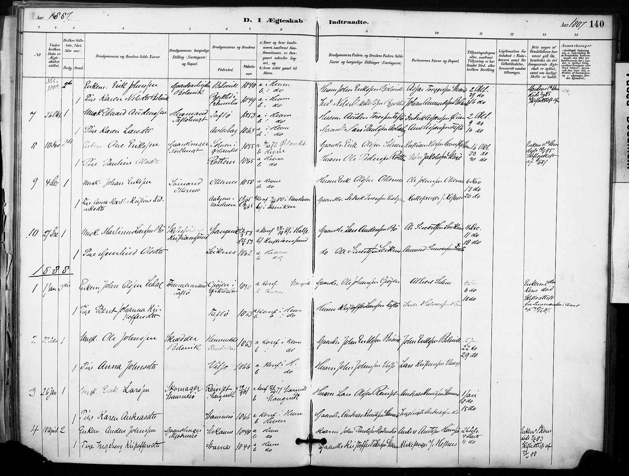SAT, Ministerialprotokoller, klokkerbøker og fødselsregistre - Sør-Trøndelag, 633/L0518: Ministerialbok nr. 633A01, 1884-1906, s. 140
