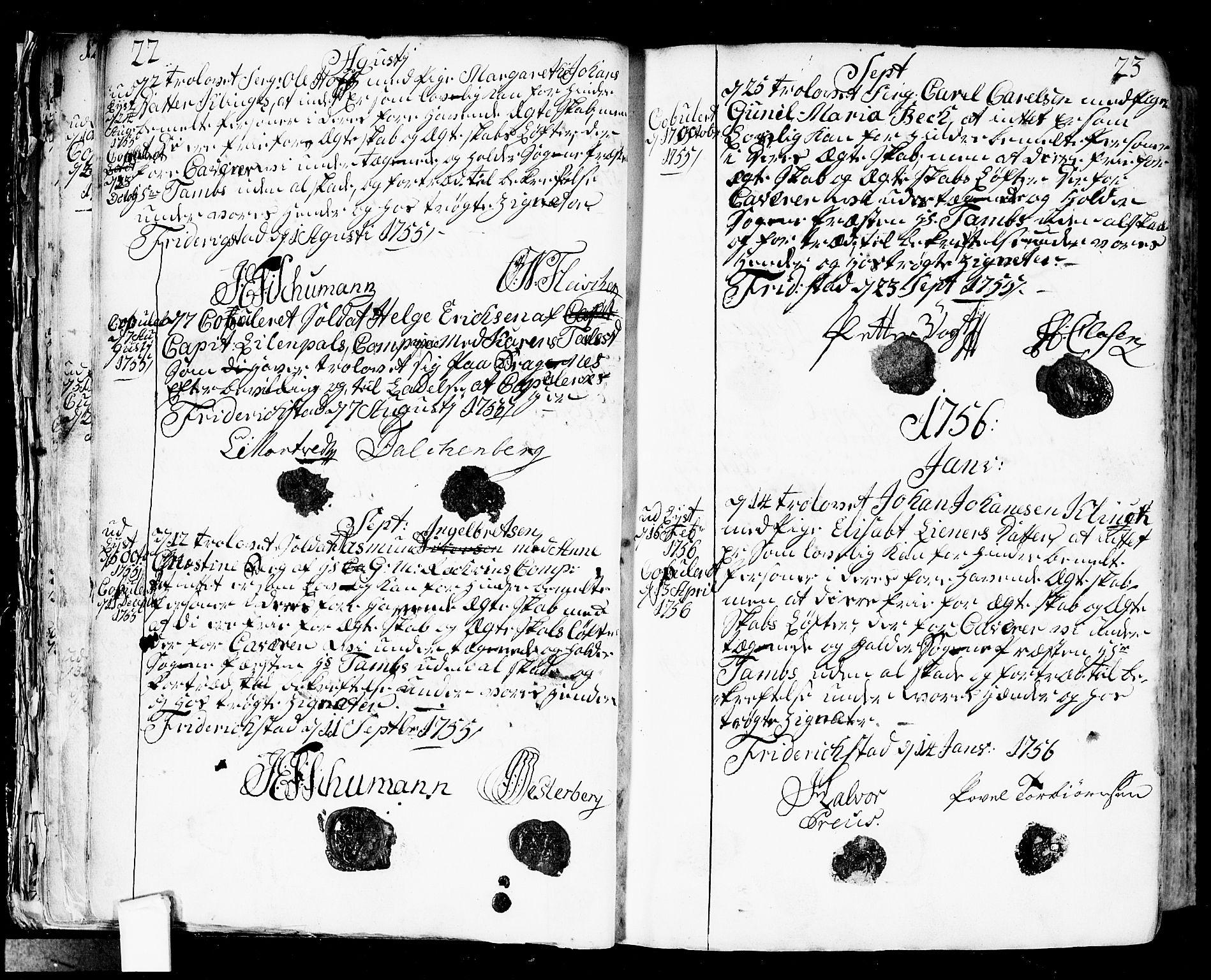 SAO, Fredrikstad prestekontor Kirkebøker, F/Fa/L0002: Ministerialbok nr. 2, 1750-1804, s. 22-23