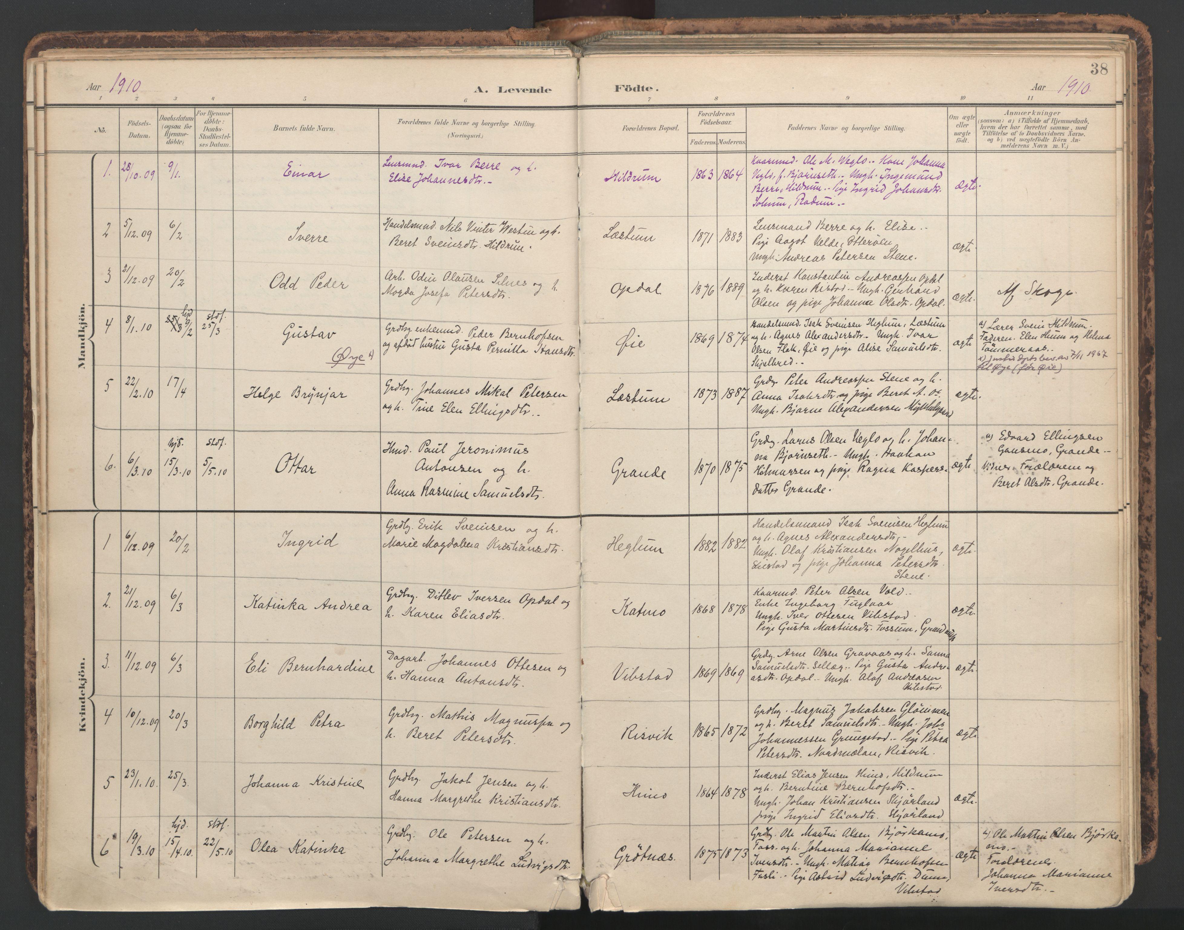 SAT, Ministerialprotokoller, klokkerbøker og fødselsregistre - Nord-Trøndelag, 764/L0556: Ministerialbok nr. 764A11, 1897-1924, s. 38