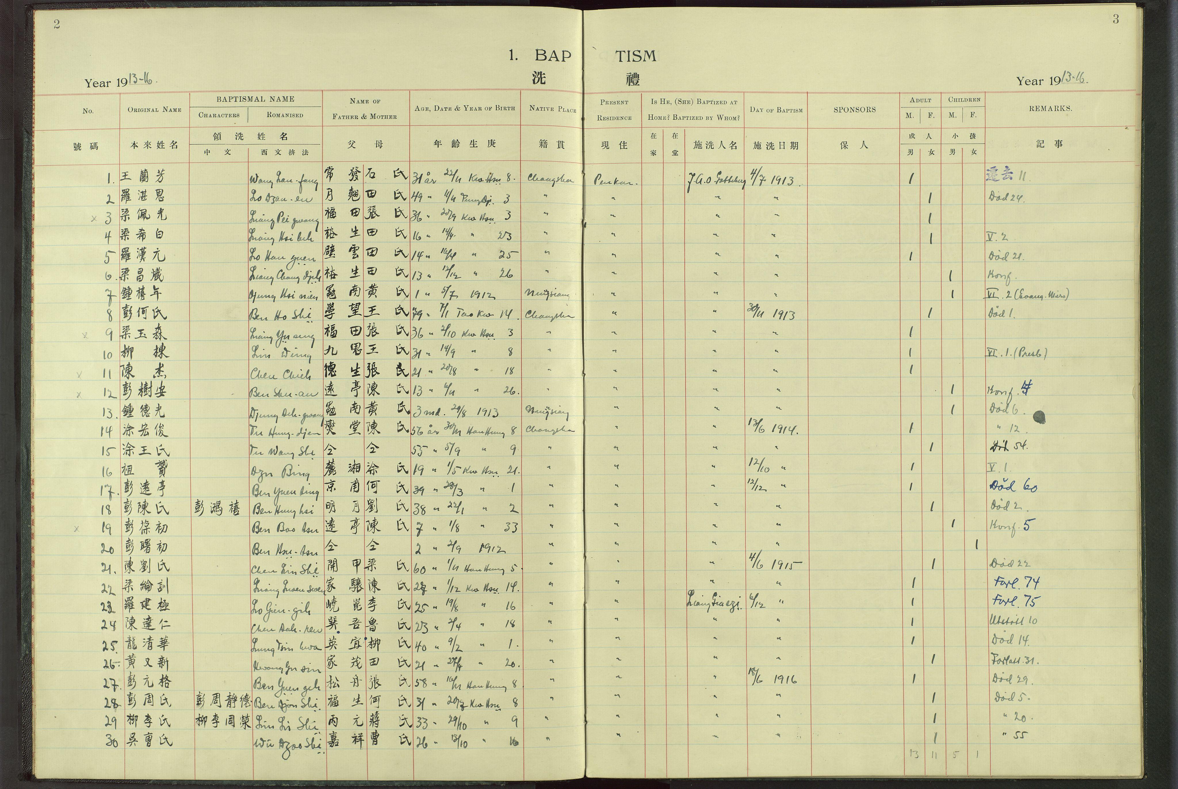 VID, Det Norske Misjonsselskap - utland - Kina (Hunan), Dm/L0017: Ministerialbok nr. -, 1913-1948, s. 2-3