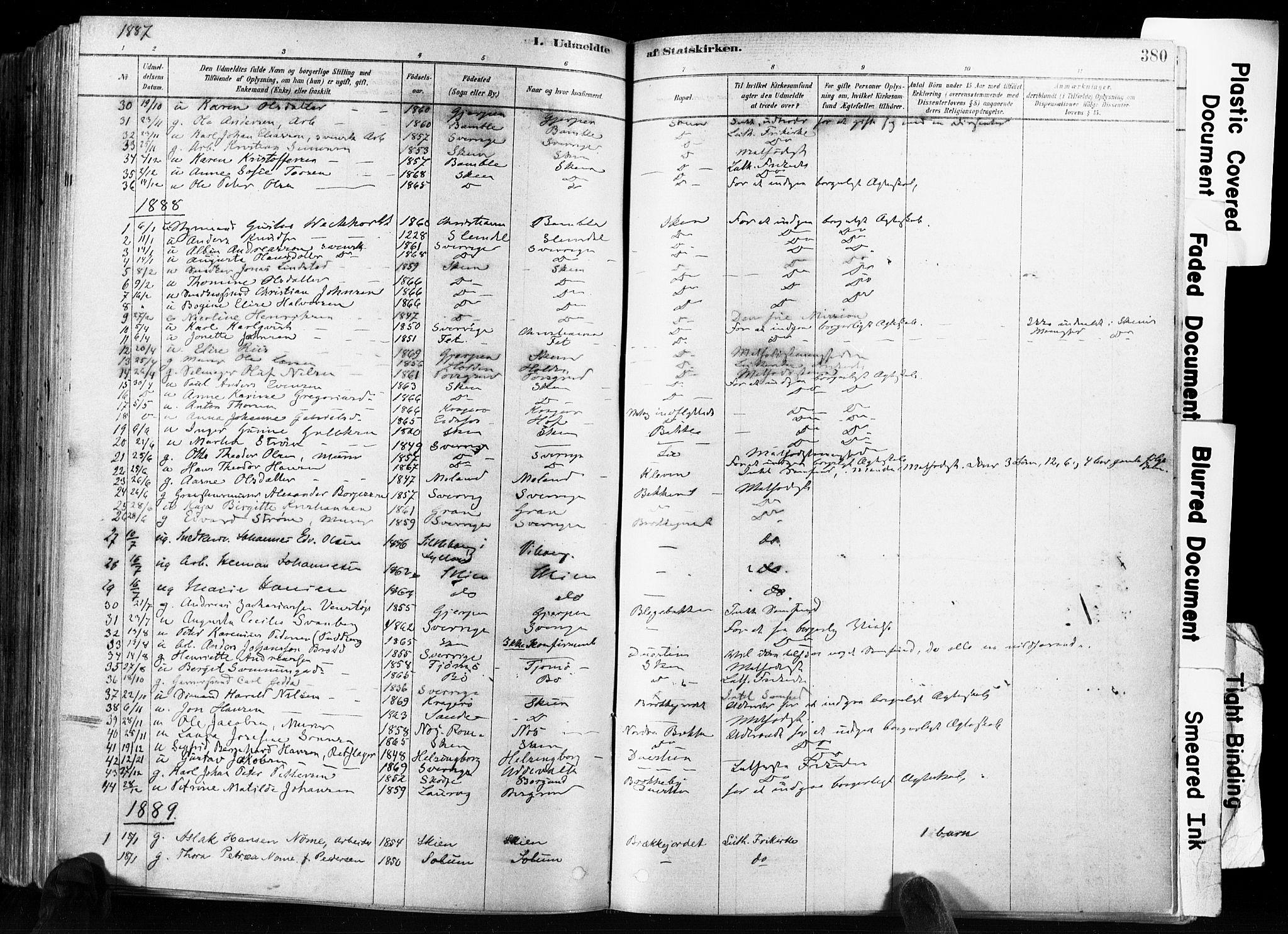 SAKO, Skien kirkebøker, F/Fa/L0009: Ministerialbok nr. 9, 1878-1890, s. 380