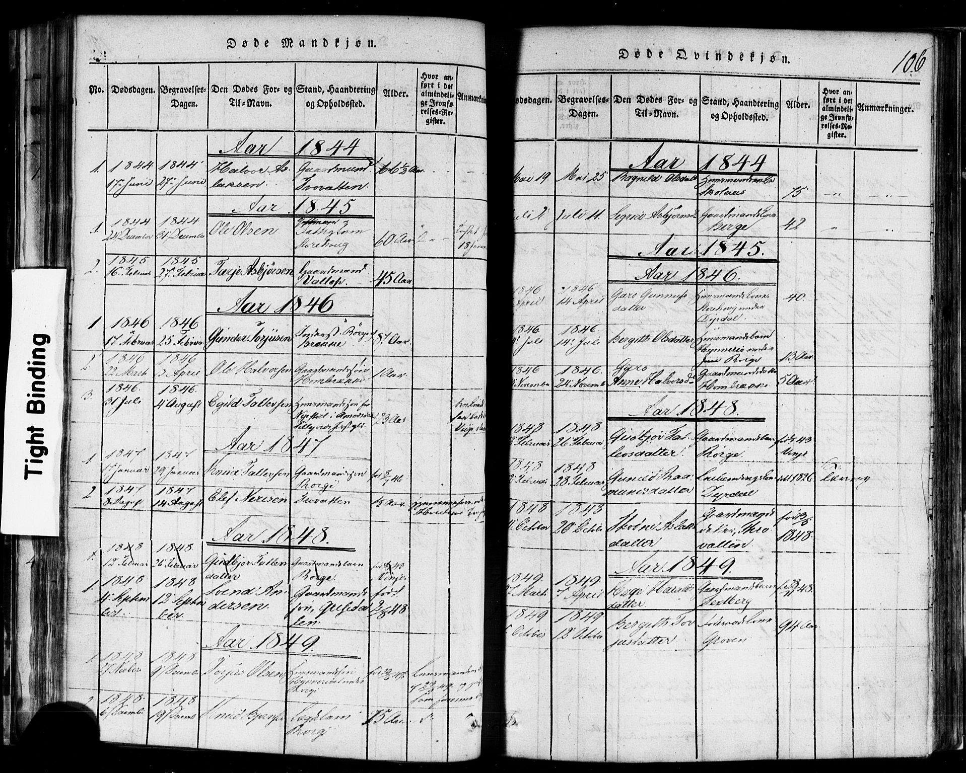 SAKO, Rauland kirkebøker, F/Fa/L0002: Ministerialbok nr. 2, 1815-1860, s. 106
