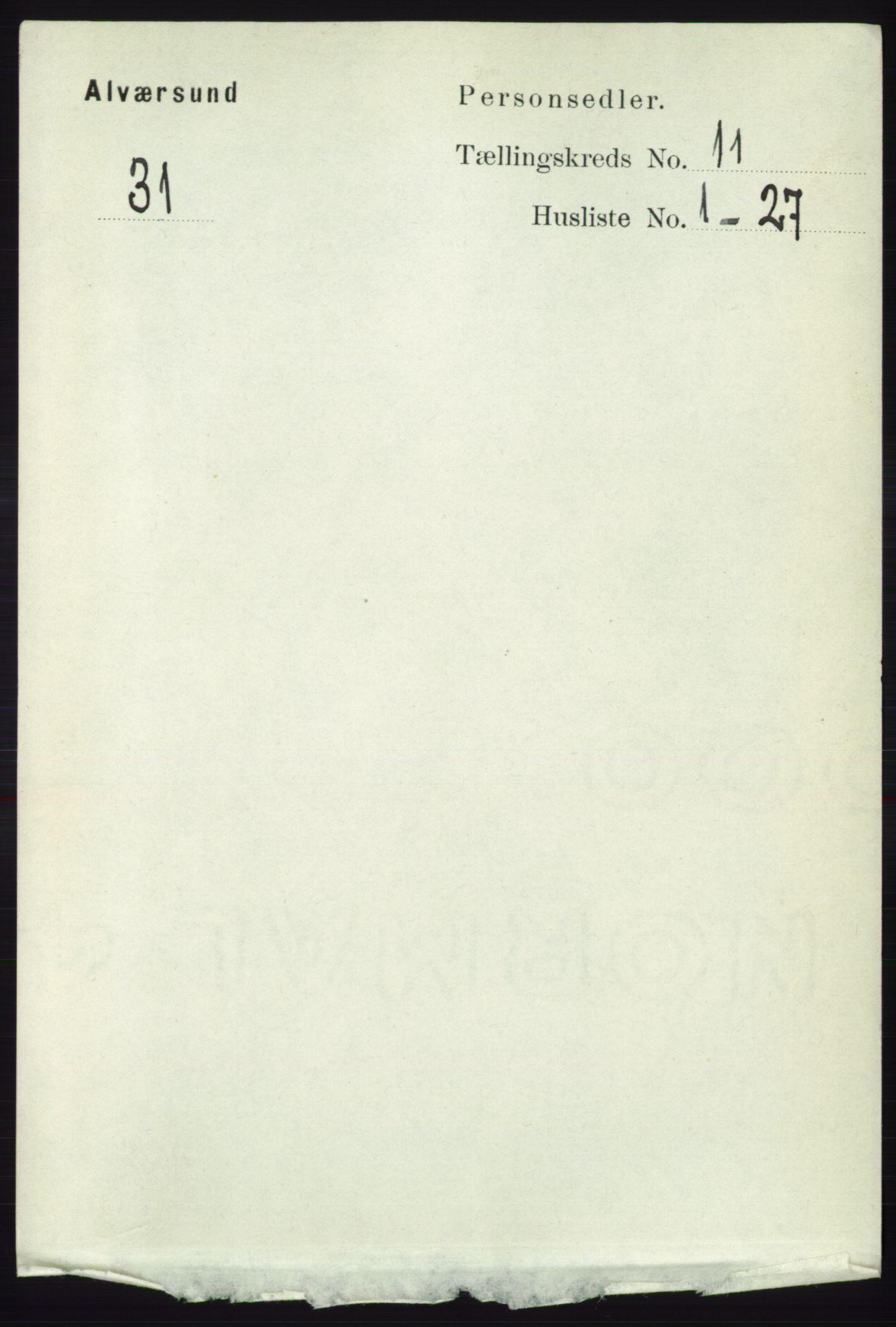 RA, Folketelling 1891 for 1257 Alversund herred, 1891, s. 3704