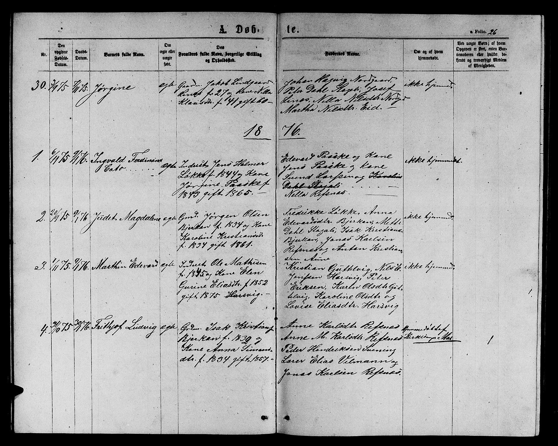 SAT, Ministerialprotokoller, klokkerbøker og fødselsregistre - Sør-Trøndelag, 656/L0695: Klokkerbok nr. 656C01, 1867-1889, s. 26