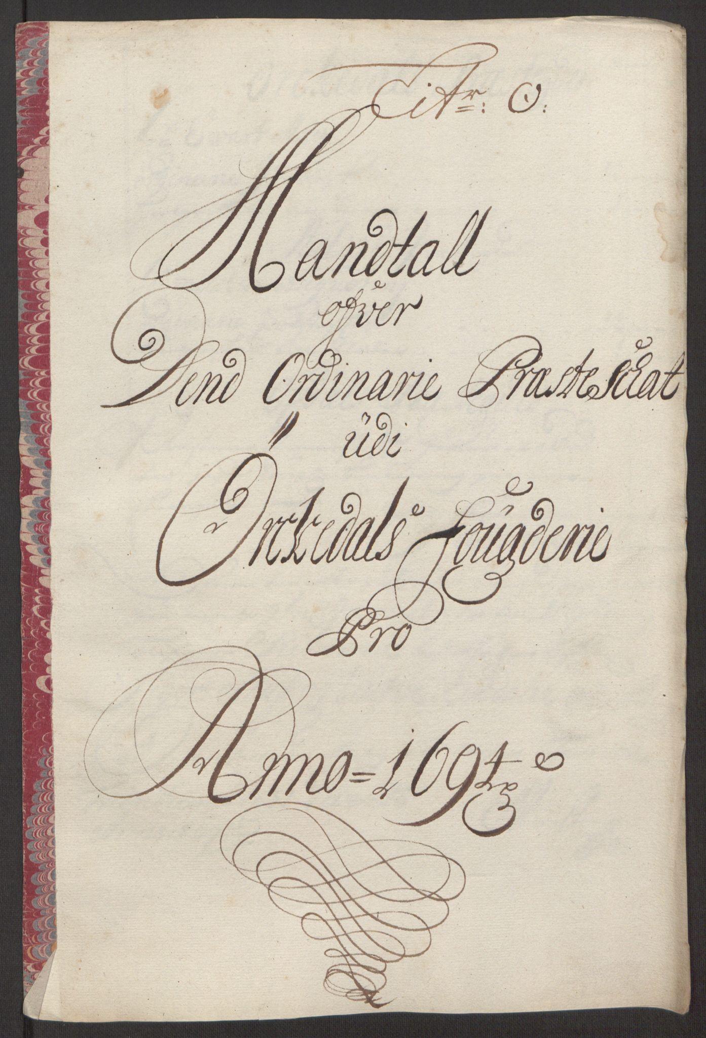RA, Rentekammeret inntil 1814, Reviderte regnskaper, Fogderegnskap, R60/L3944: Fogderegnskap Orkdal og Gauldal, 1694, s. 167