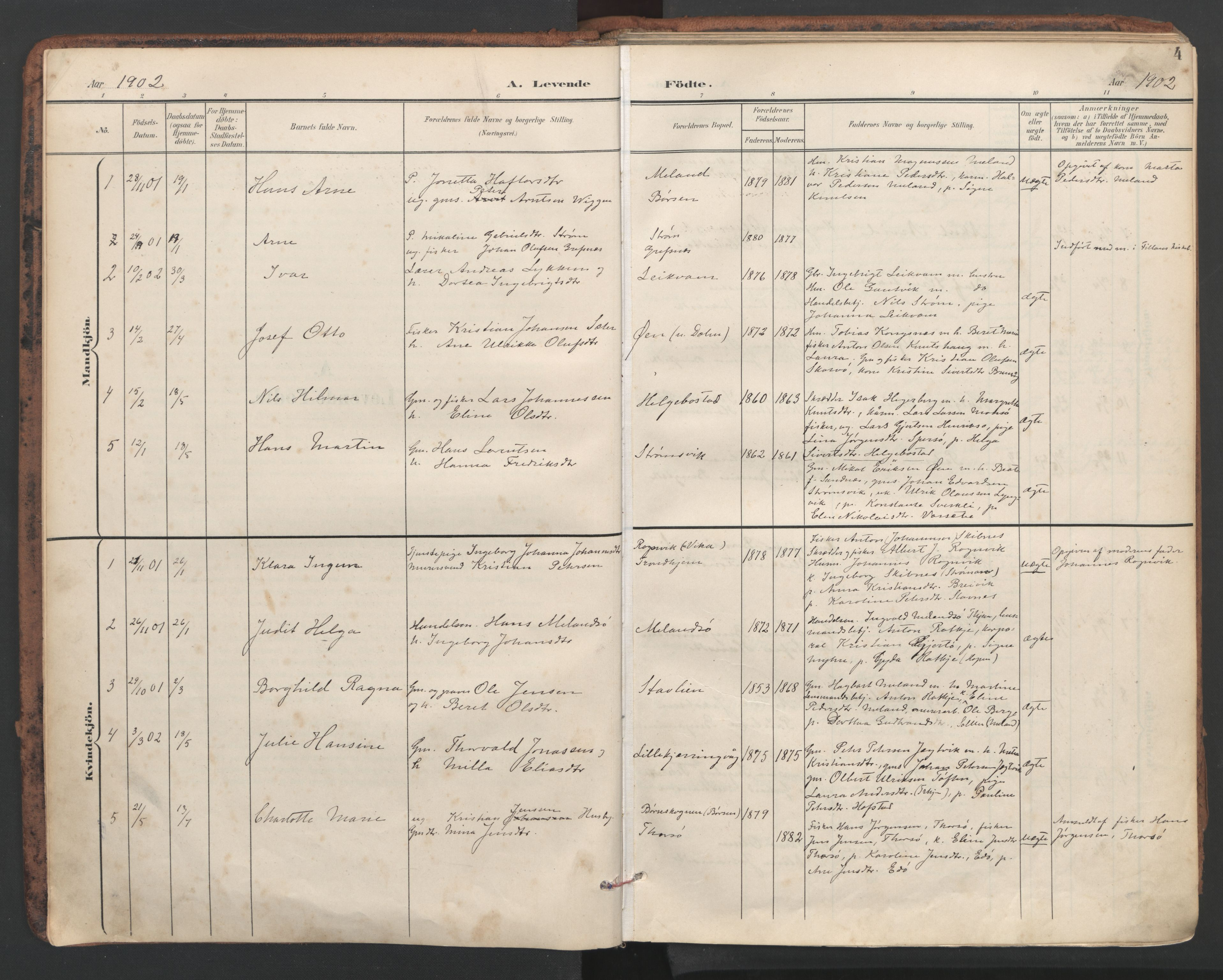 SAT, Ministerialprotokoller, klokkerbøker og fødselsregistre - Sør-Trøndelag, 634/L0537: Ministerialbok nr. 634A13, 1896-1922, s. 4