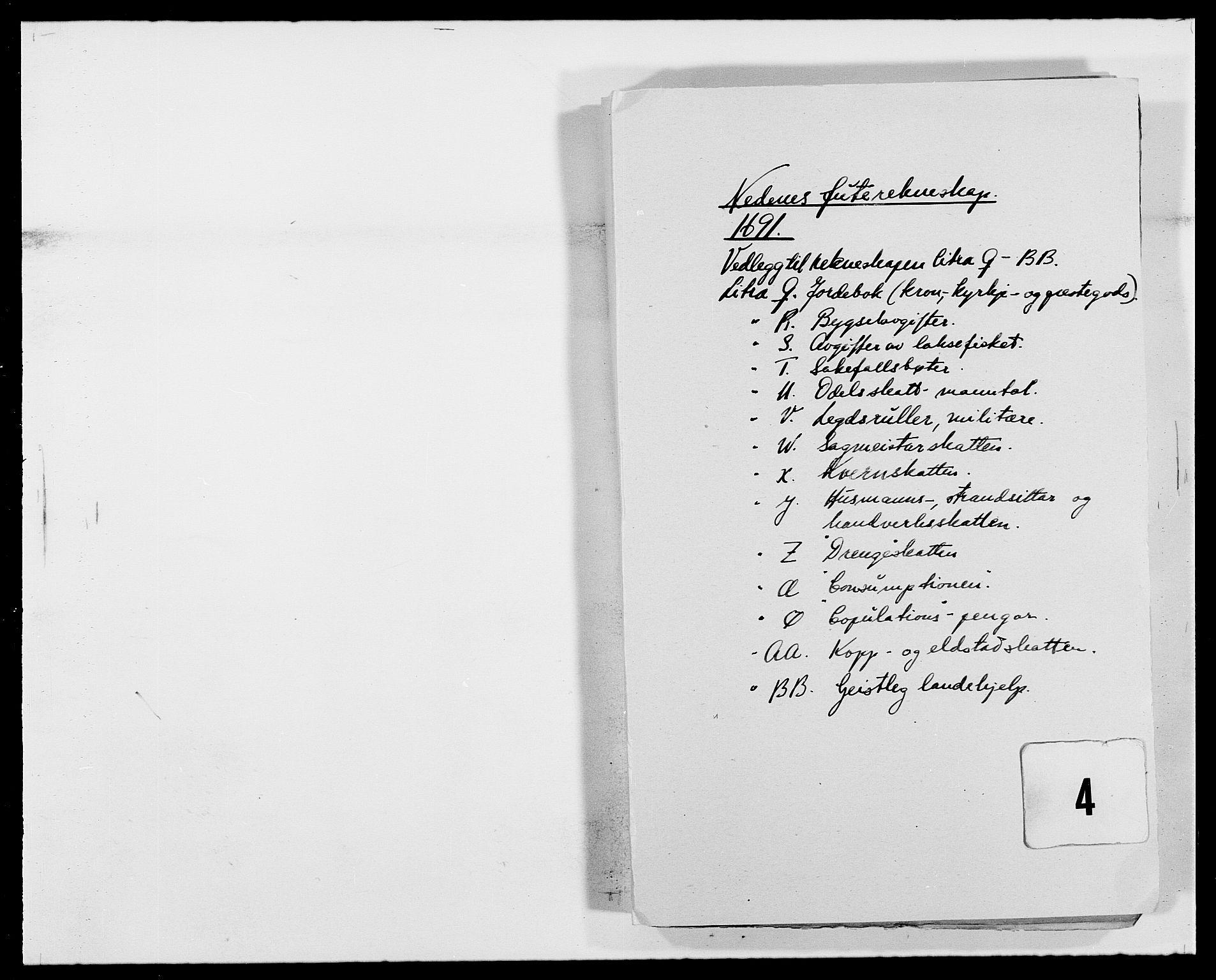 RA, Rentekammeret inntil 1814, Reviderte regnskaper, Fogderegnskap, R39/L2311: Fogderegnskap Nedenes, 1690-1692, s. 1