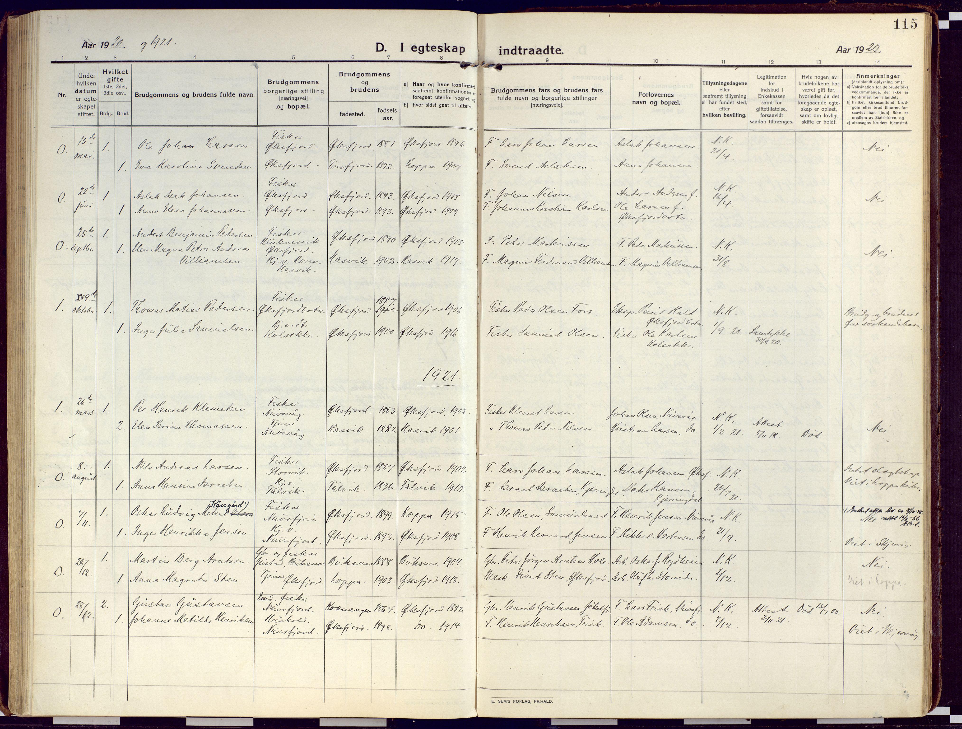 SATØ, Loppa sokneprestkontor, H/Ha/L0012kirke: Ministerialbok nr. 12, 1917-1932, s. 115
