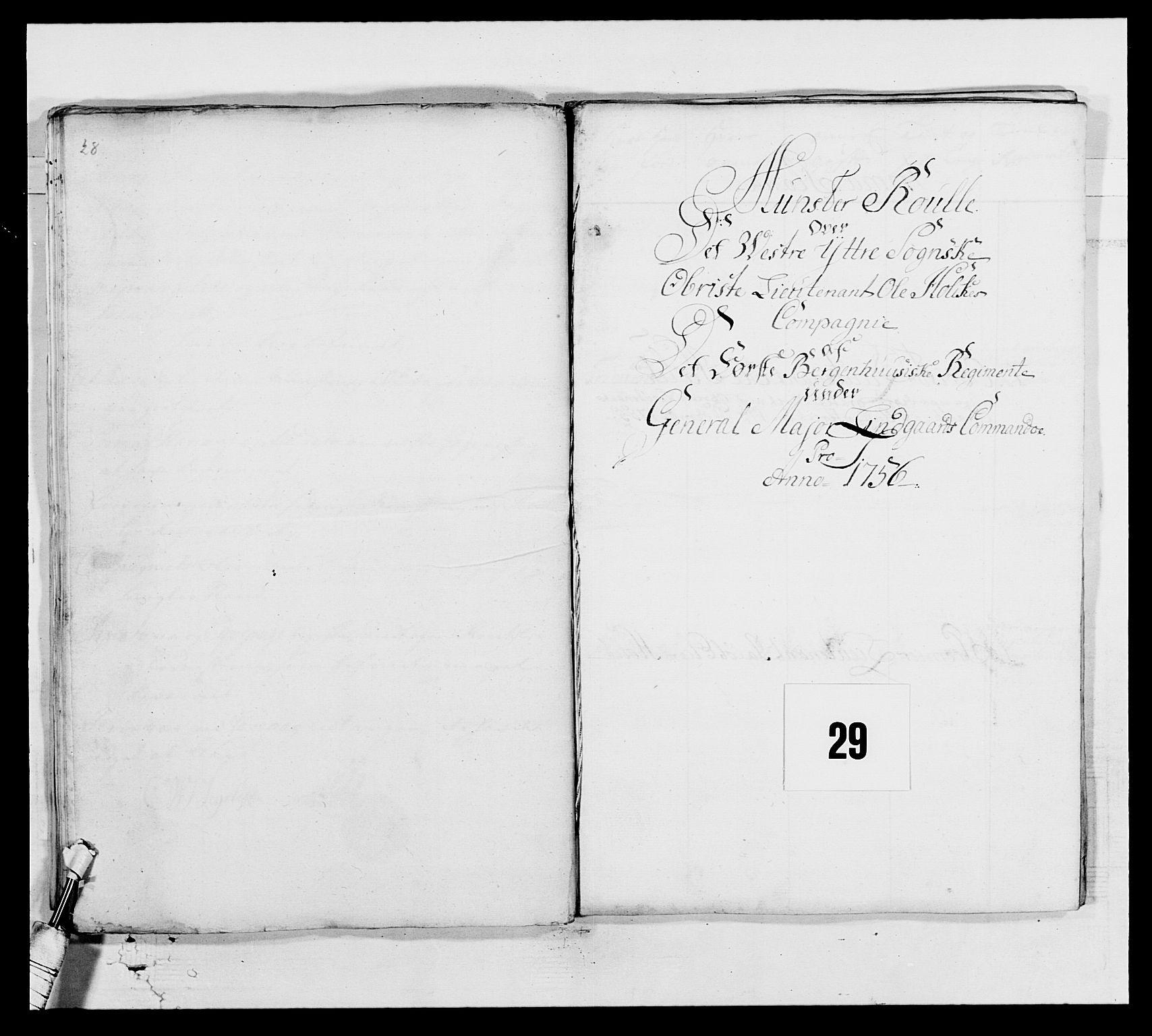 RA, Kommanderende general (KG I) med Det norske krigsdirektorium, E/Ea/L0517: 1. Bergenhusiske regiment, 1742-1756, s. 445