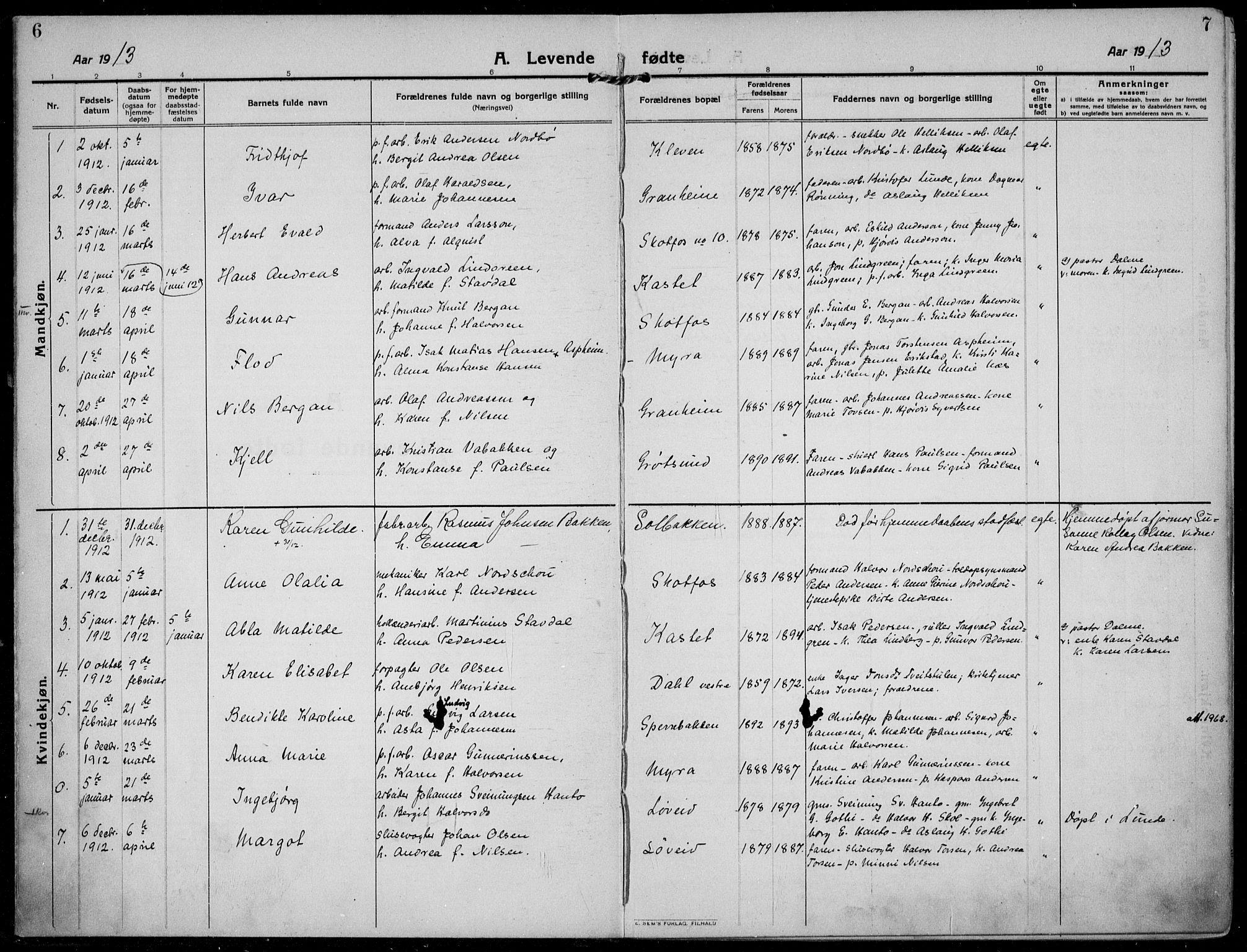 SAKO, Solum kirkebøker, F/Fb/L0004: Ministerialbok nr. II 4, 1913-1924, s. 6-7