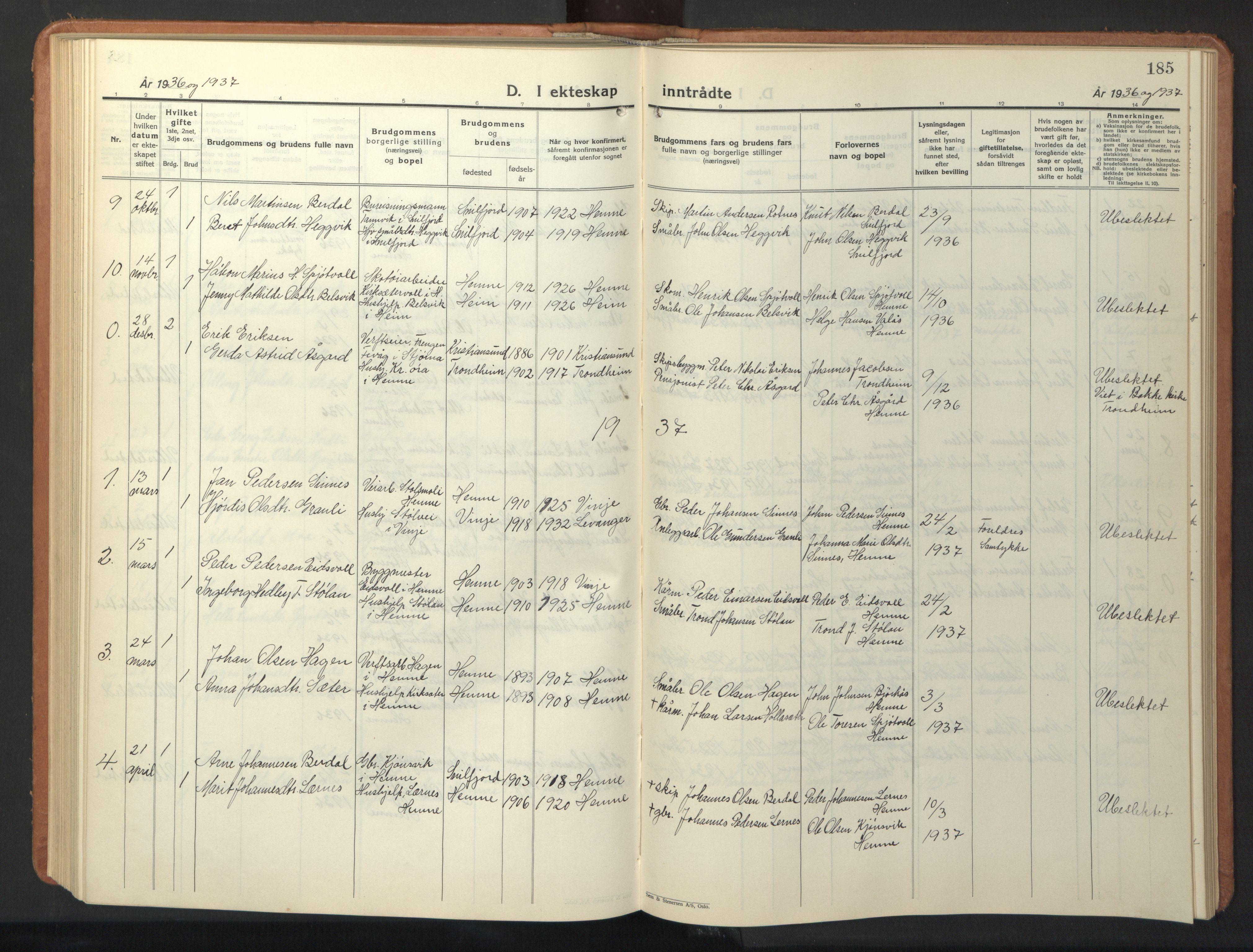 SAT, Ministerialprotokoller, klokkerbøker og fødselsregistre - Sør-Trøndelag, 630/L0508: Klokkerbok nr. 630C06, 1933-1950, s. 185