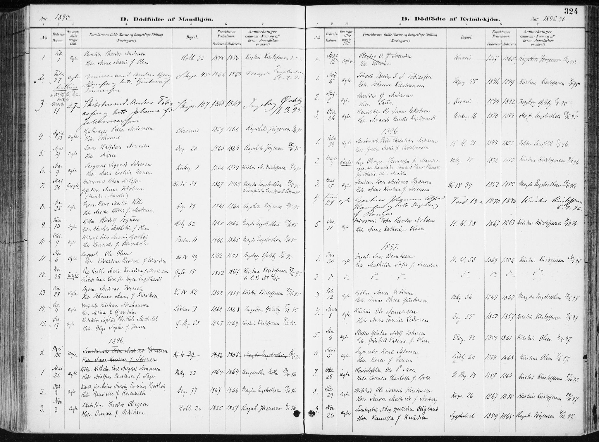 SAK, Kristiansand domprosti, F/Fa/L0019: Ministerialbok nr. A 18, 1890-1897, s. 324