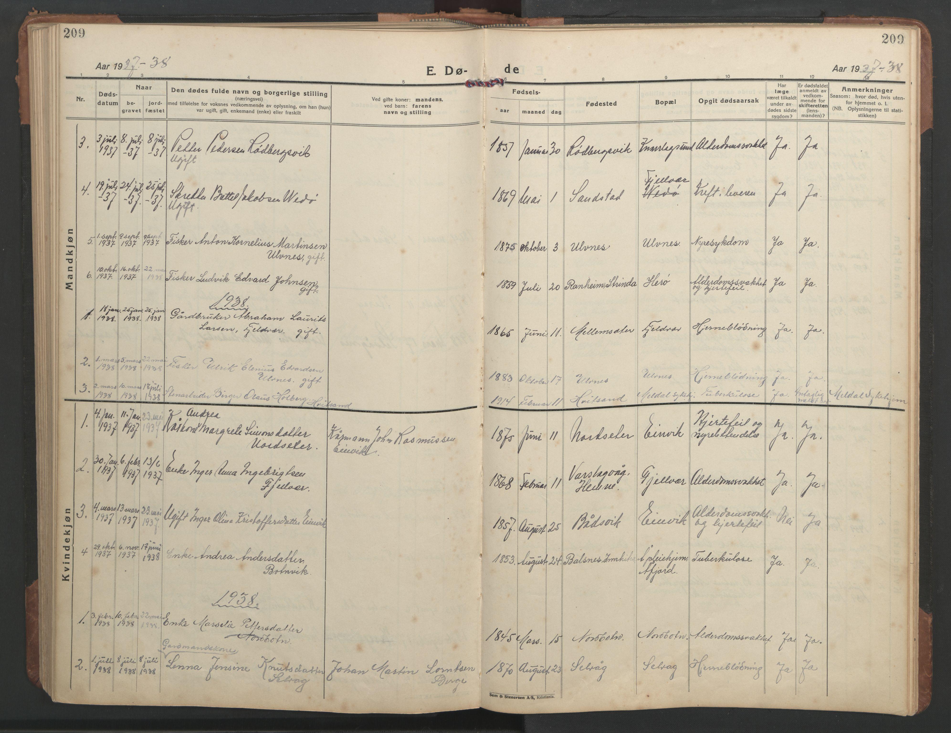 SAT, Ministerialprotokoller, klokkerbøker og fødselsregistre - Sør-Trøndelag, 638/L0569: Klokkerbok nr. 638C01, 1923-1961, s. 209