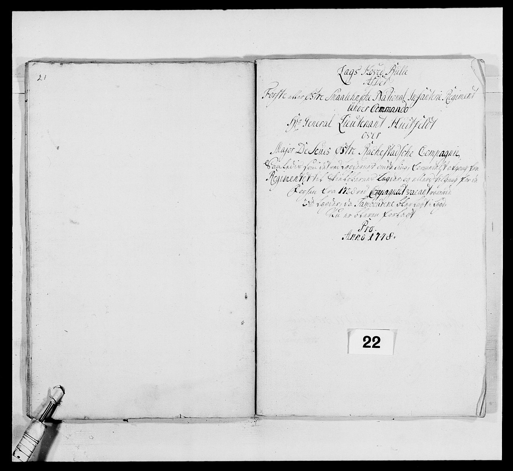 RA, Kommanderende general (KG I) med Det norske krigsdirektorium, E/Ea/L0495: 1. Smålenske regiment, 1732-1763, s. 306