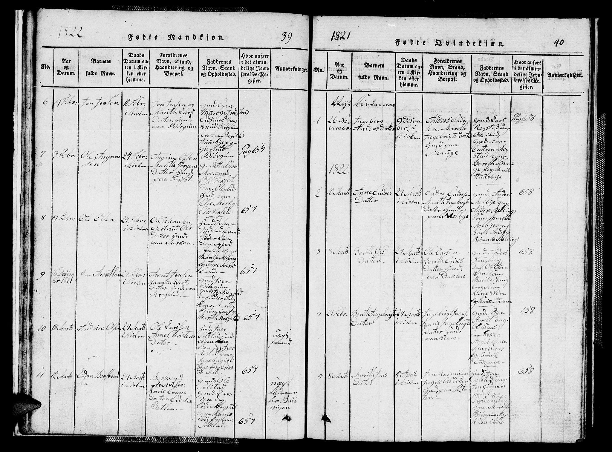 SAT, Ministerialprotokoller, klokkerbøker og fødselsregistre - Sør-Trøndelag, 667/L0796: Klokkerbok nr. 667C01, 1817-1836, s. 39-40