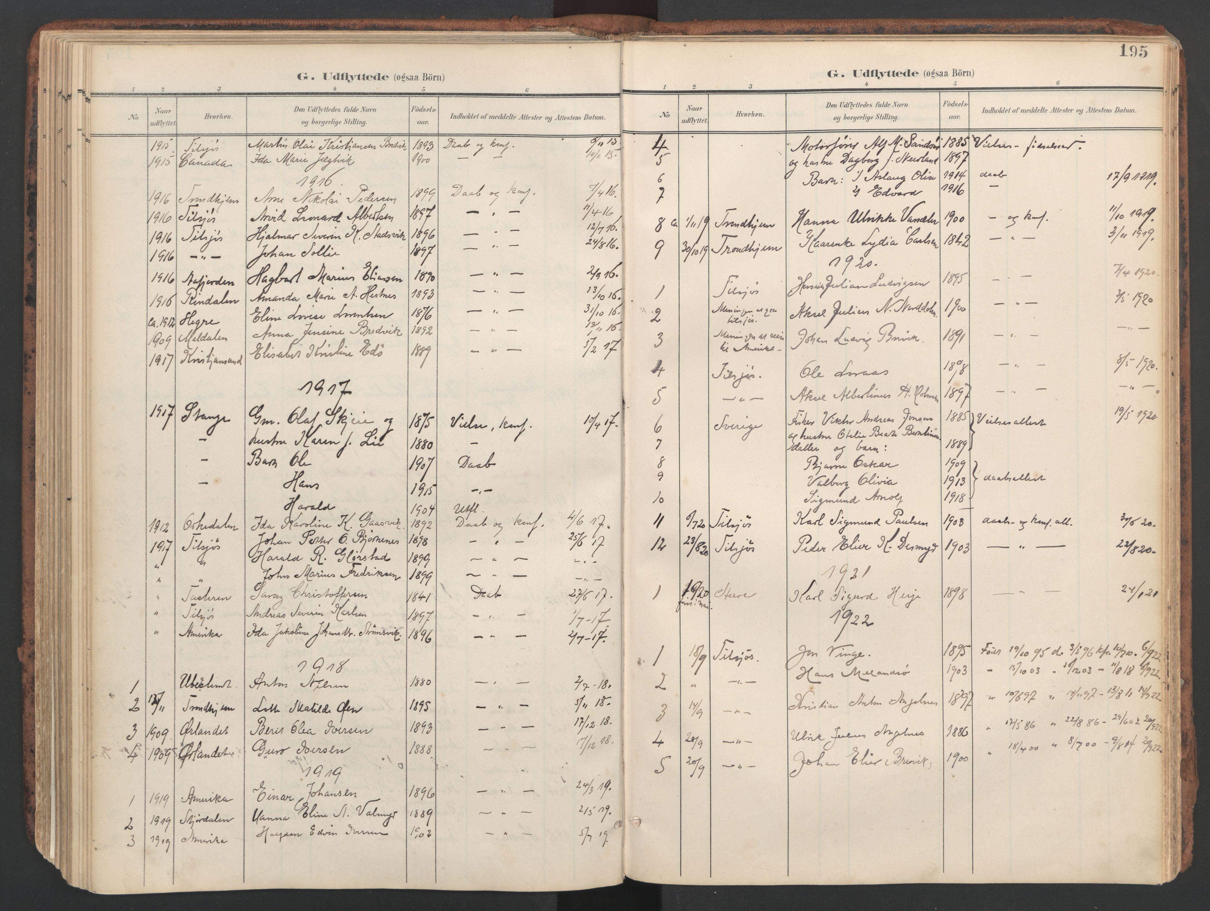 SAT, Ministerialprotokoller, klokkerbøker og fødselsregistre - Sør-Trøndelag, 634/L0537: Ministerialbok nr. 634A13, 1896-1922, s. 195