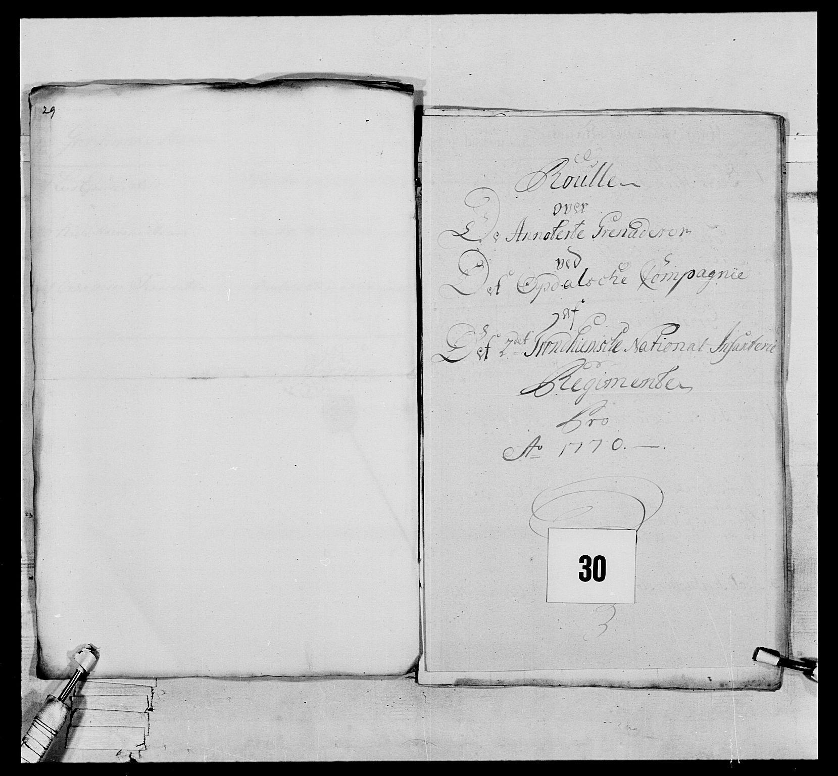 RA, Generalitets- og kommissariatskollegiet, Det kongelige norske kommissariatskollegium, E/Eh/L0076: 2. Trondheimske nasjonale infanteriregiment, 1766-1773, s. 84